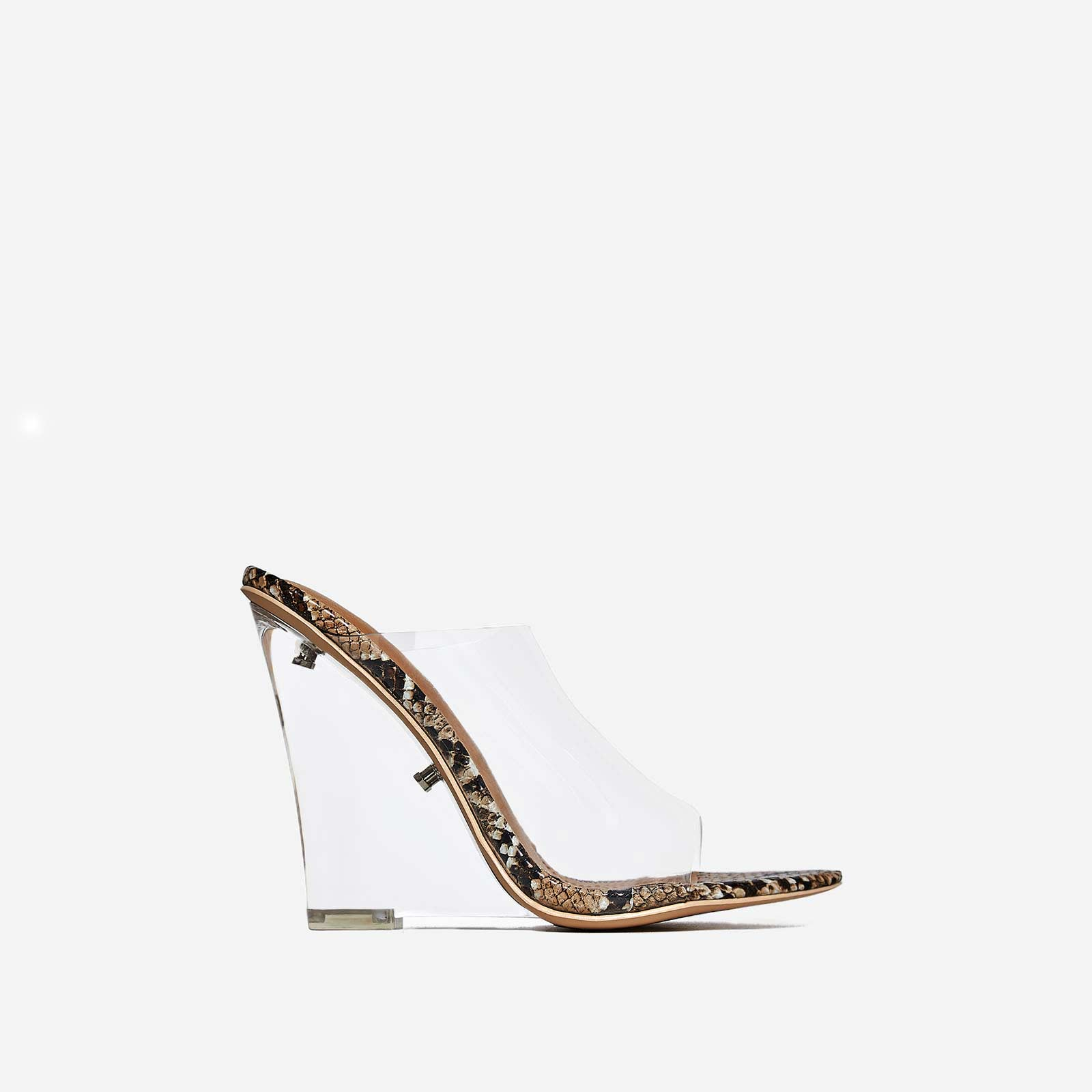 Lemonade Perspex Wedge Mule In Nude Snake Print Faux Leather