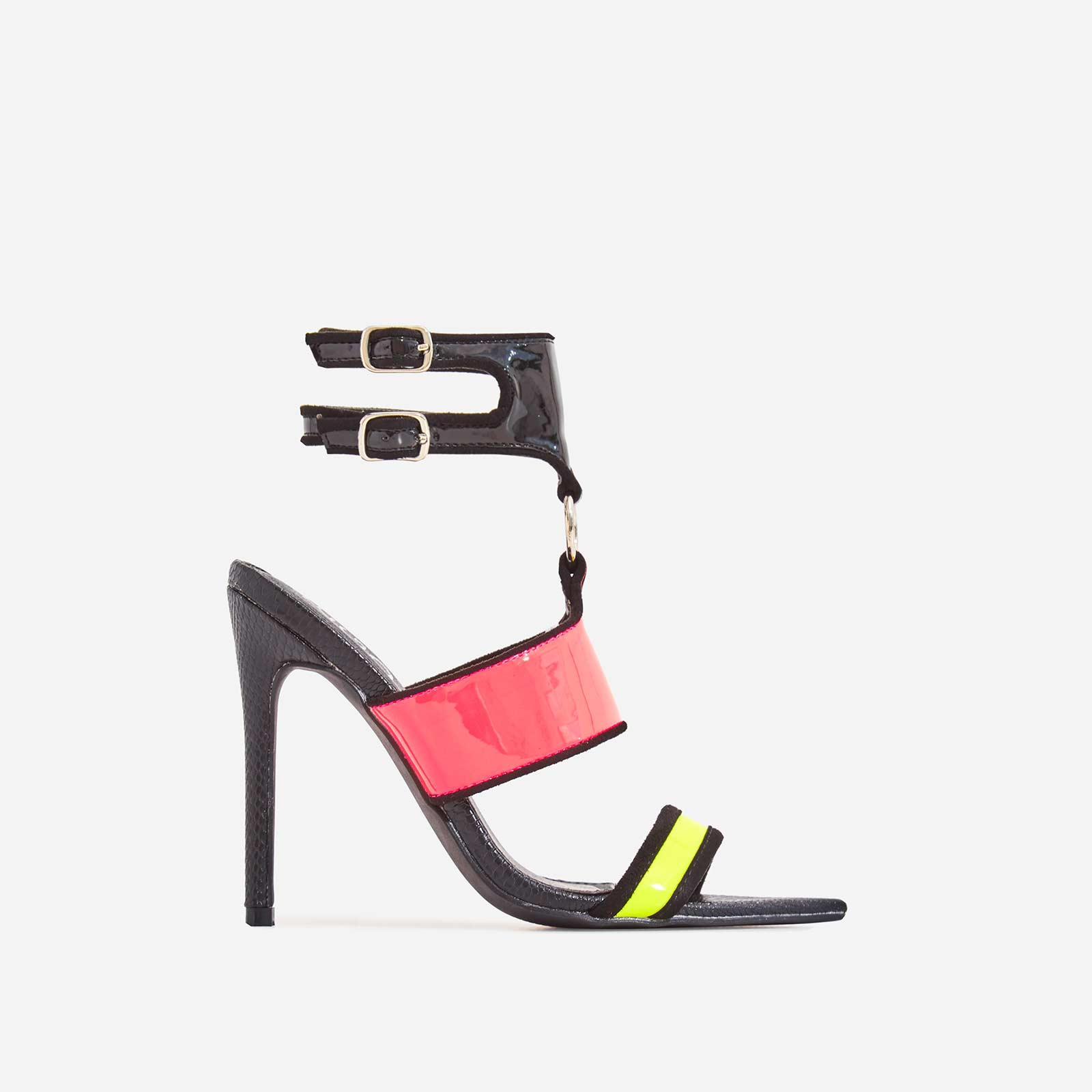 Lex Pink Patent Perspex Cage Heel In Black Snake Print Faux Leather