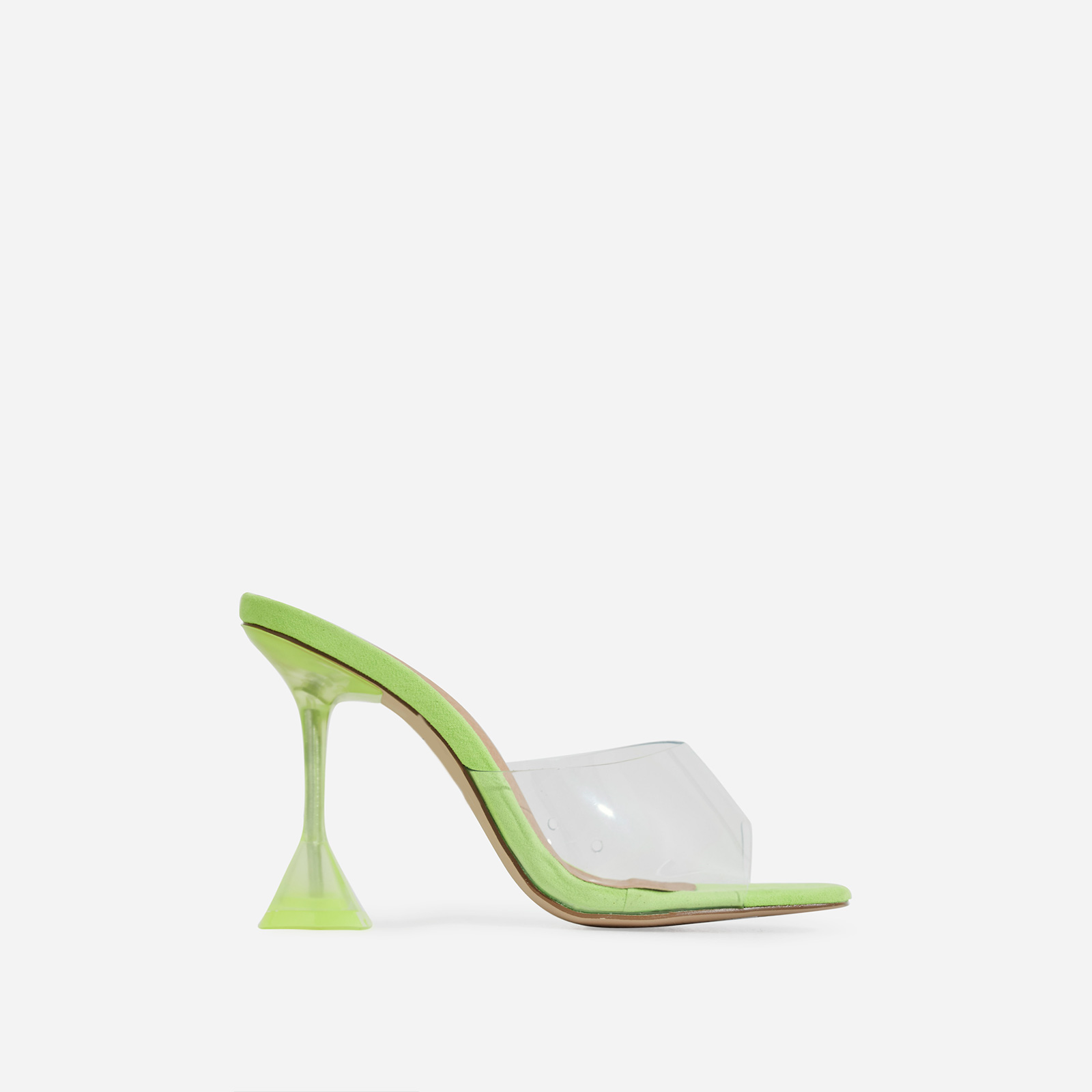 Lila Square Toe Perspex Heel Mule In Lime Green Faux Suede