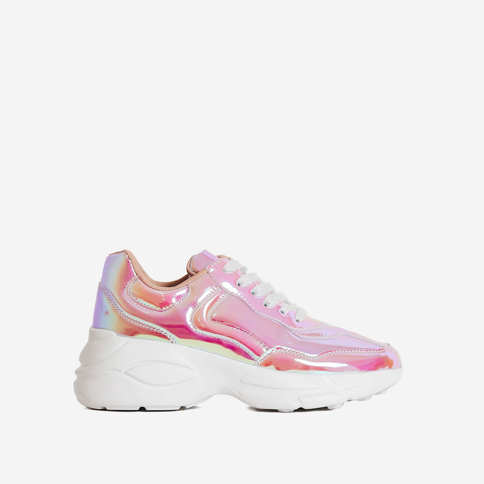 Limitless Chunky Trainer In Metallic Pink Patent