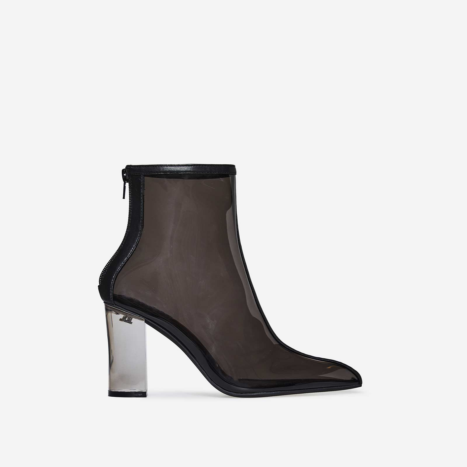 Lissy Perspex Block Heel Ankle Boot In Black Faux Leather