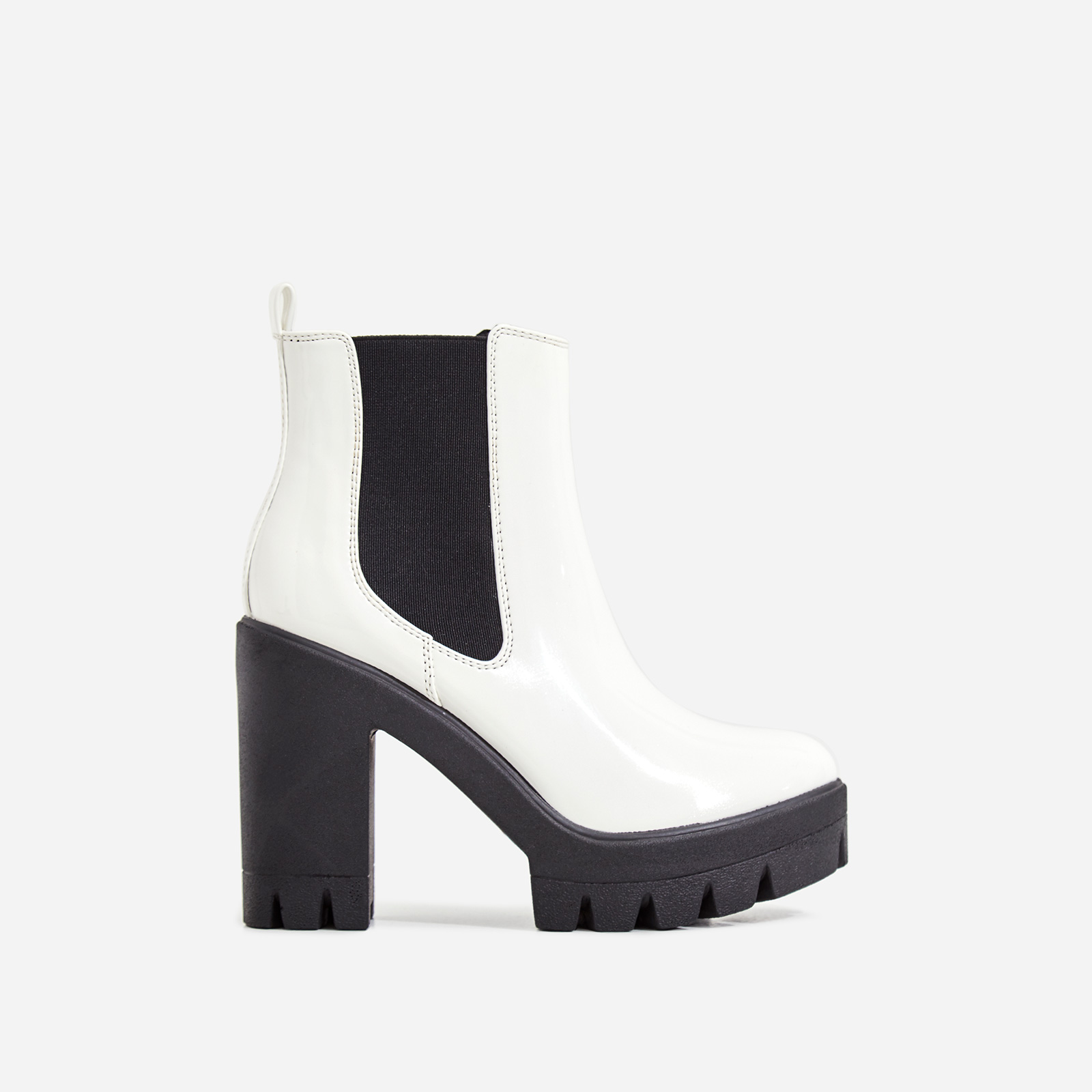 Liya Chunky Sole Ankle Chelsea Boot In White Patent