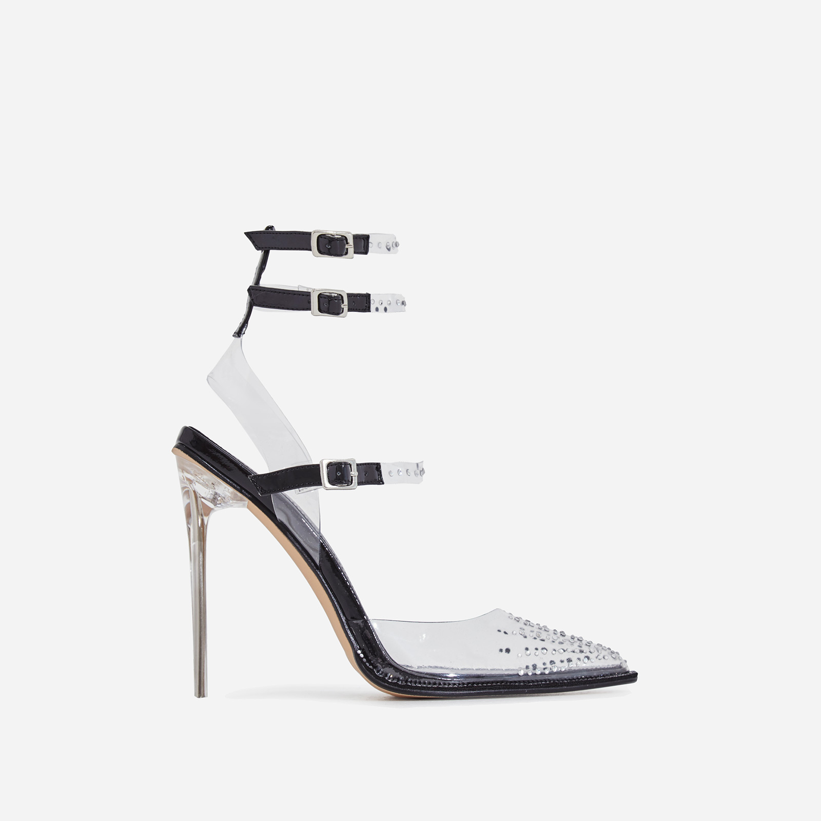 Margarita Diamante Details Perspex Heel In Black Patent