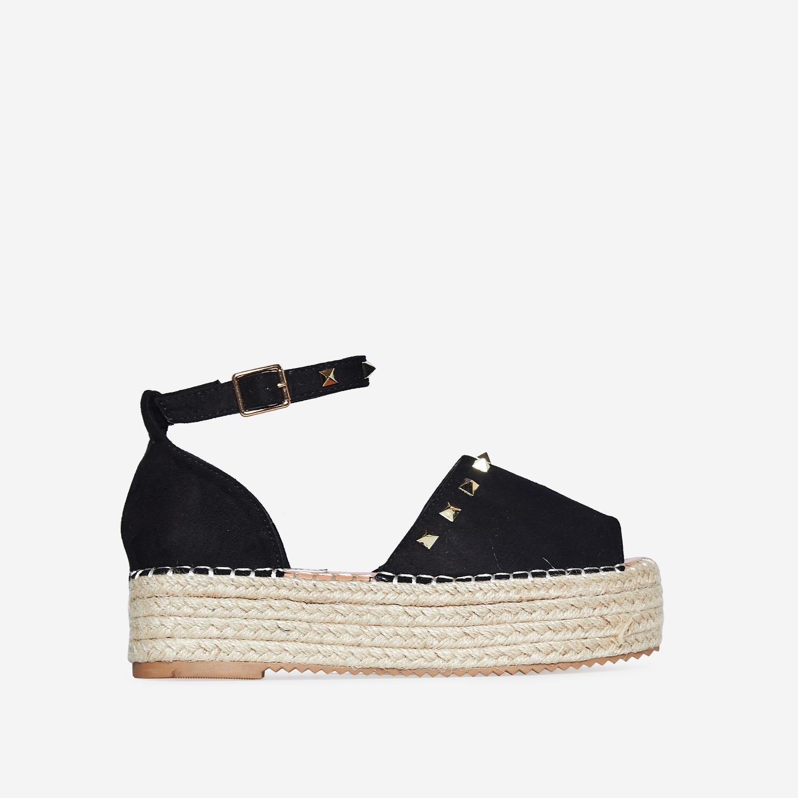 Jelena Studded Detail Flatform Espadrille Sandal In Black Faux Suede
