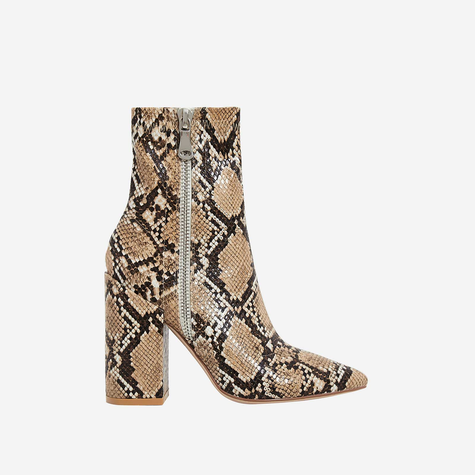 Lucian Block Heel Ankle Boot In Nude Snake Print Faux Leather