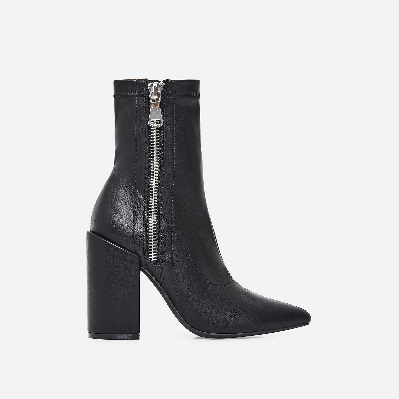 Lucian Block Heel Ankle Boot In Black Faux Leather