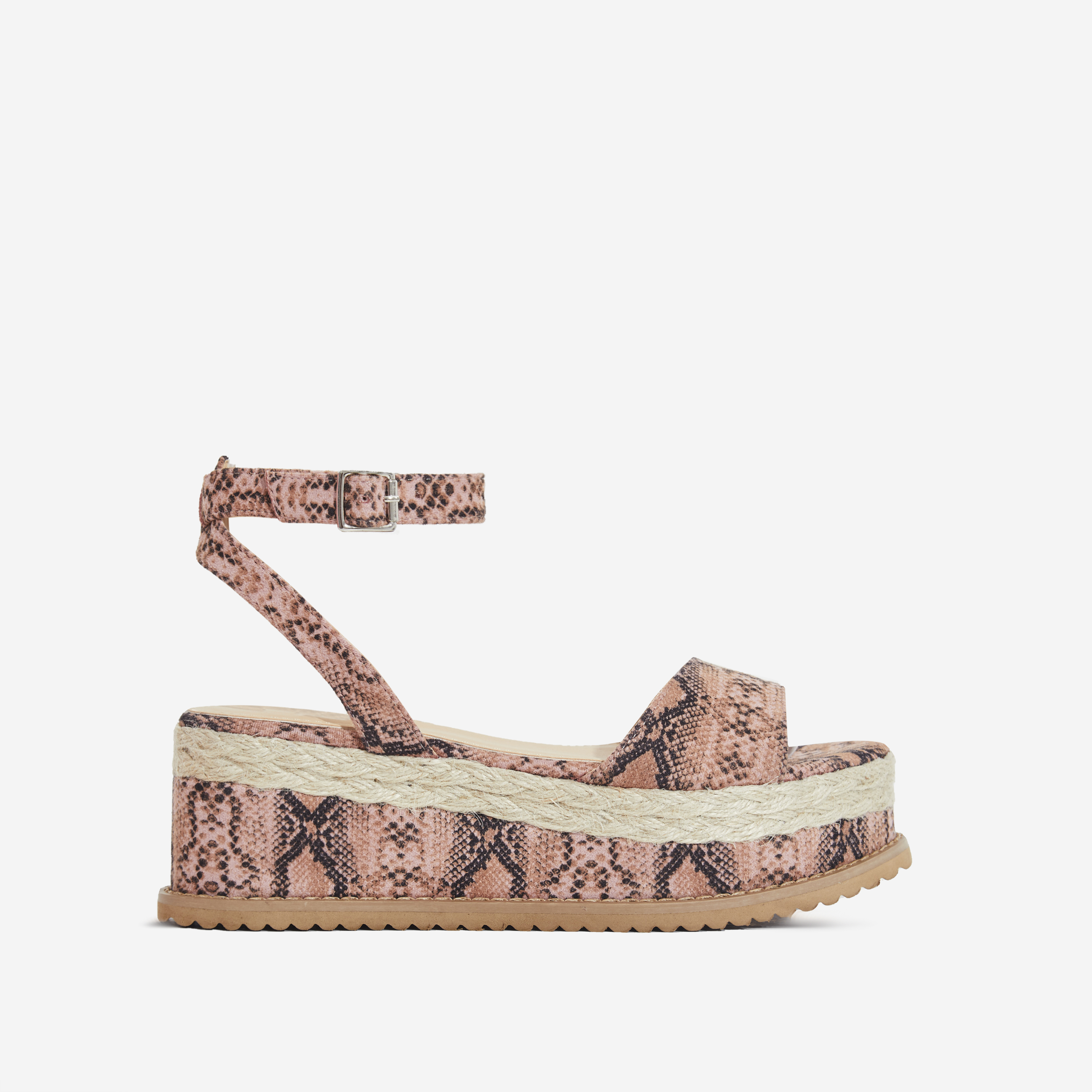 Lucie Espadrille Flatform In Pink Snake Print Faux Suede