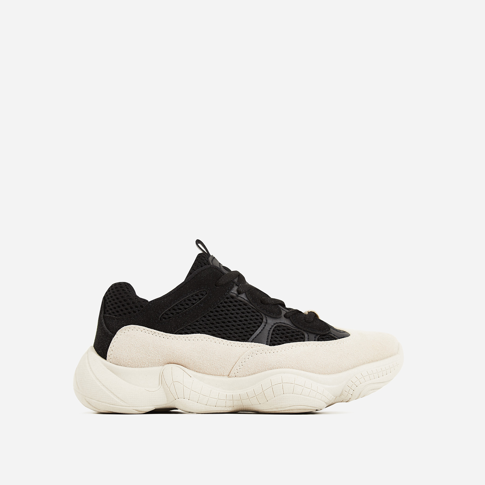 Kane Chunky Sole Mesh Sneaker In Black and Nude Faux Suede