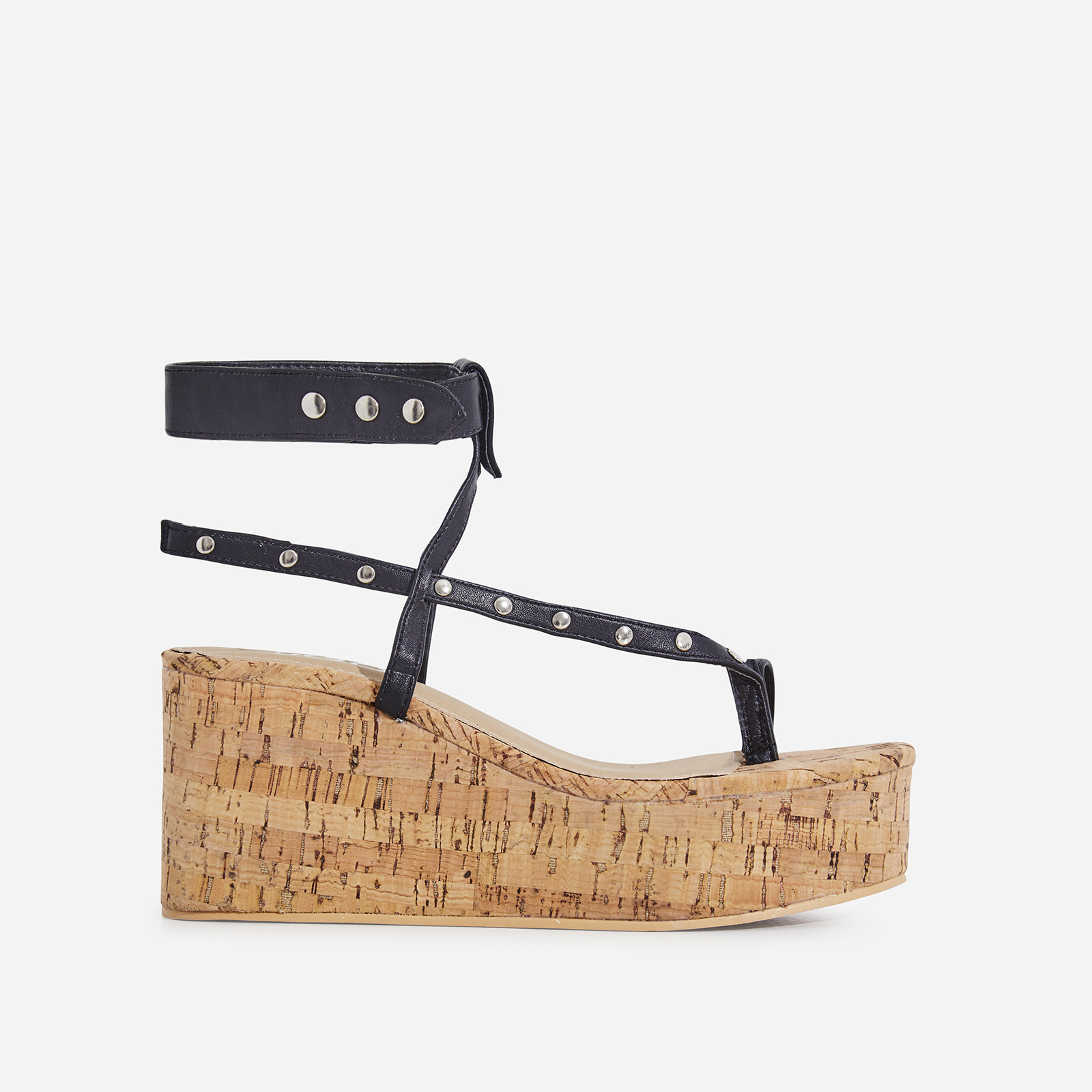 Magic Studded Detail Wedge Sandal In Black Faux Leather