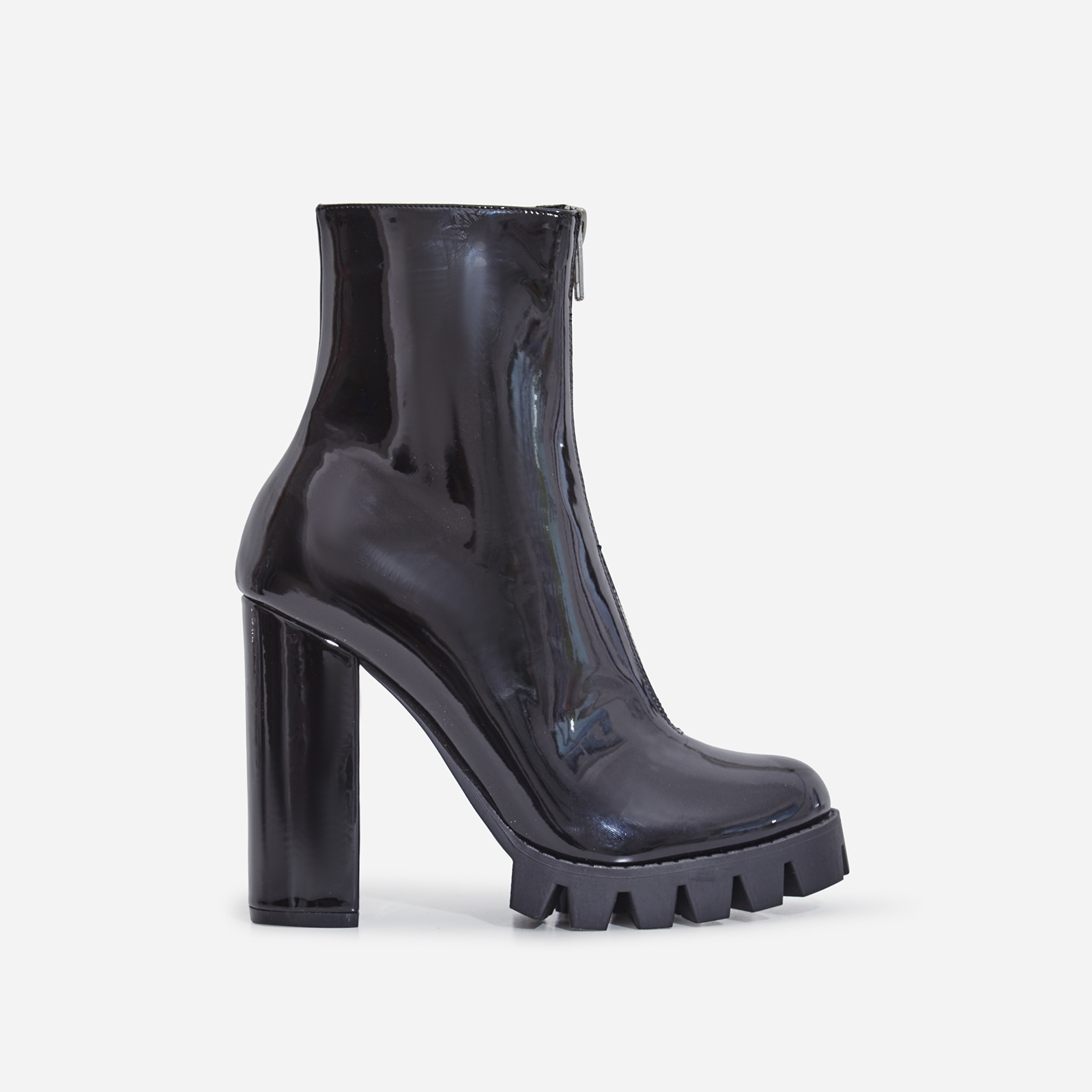 Mamba Zip Detail Cleated Sole Ankle Boot In Black Patent