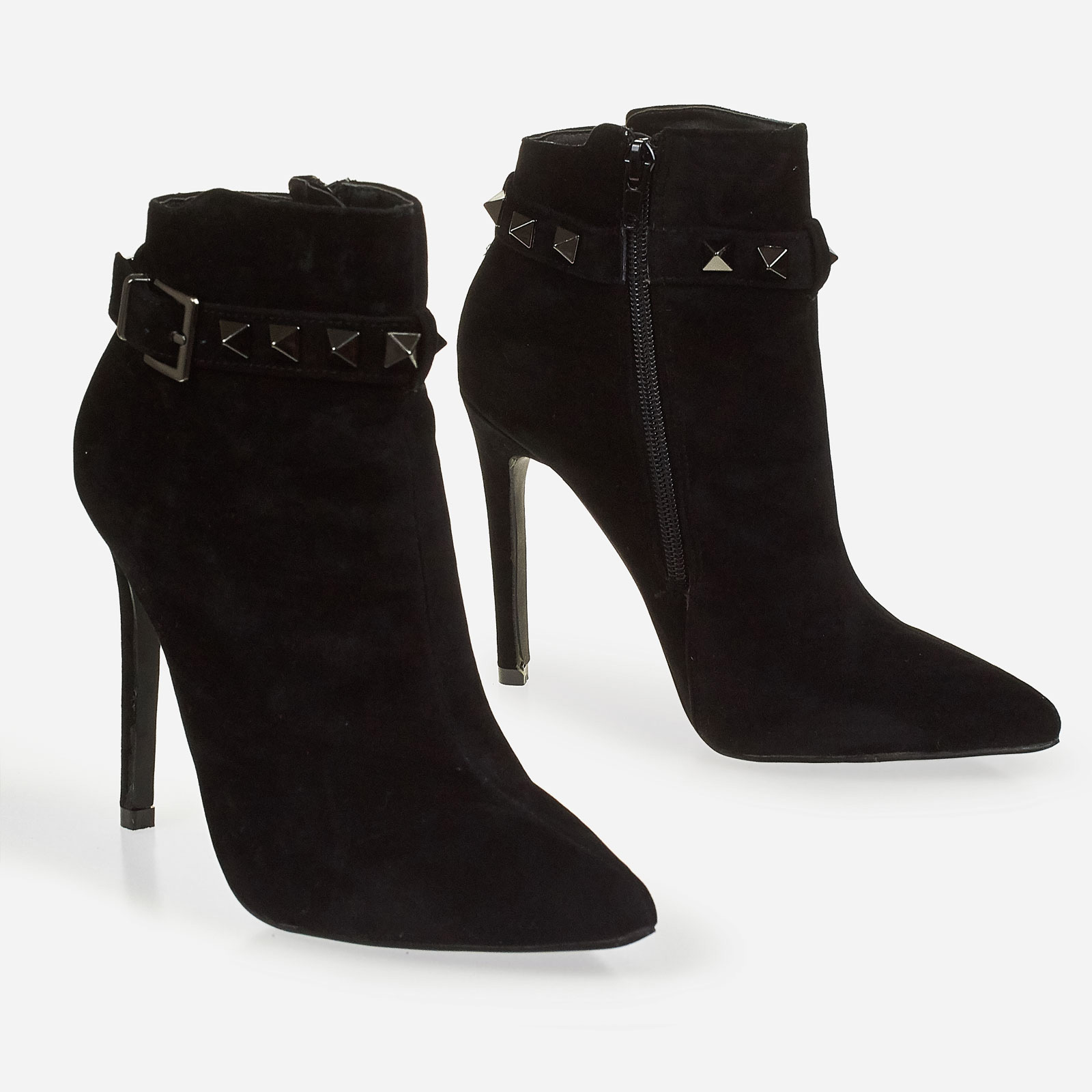 Danni Studded Detail Ankle Boot In Black Faux Suede