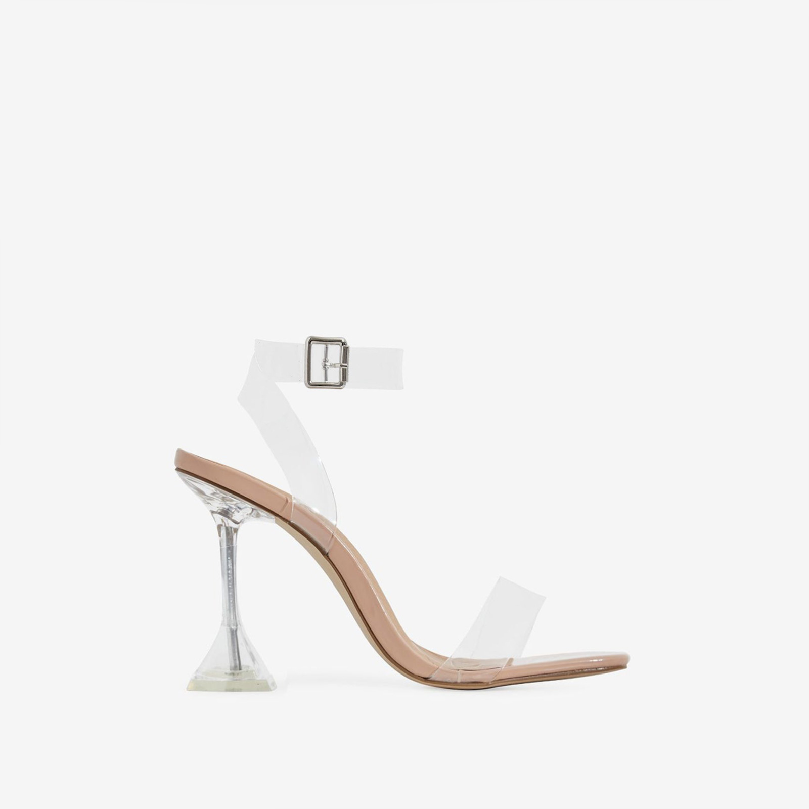 Marca Barely There Square Toe Perspex Heel In Nude Patent