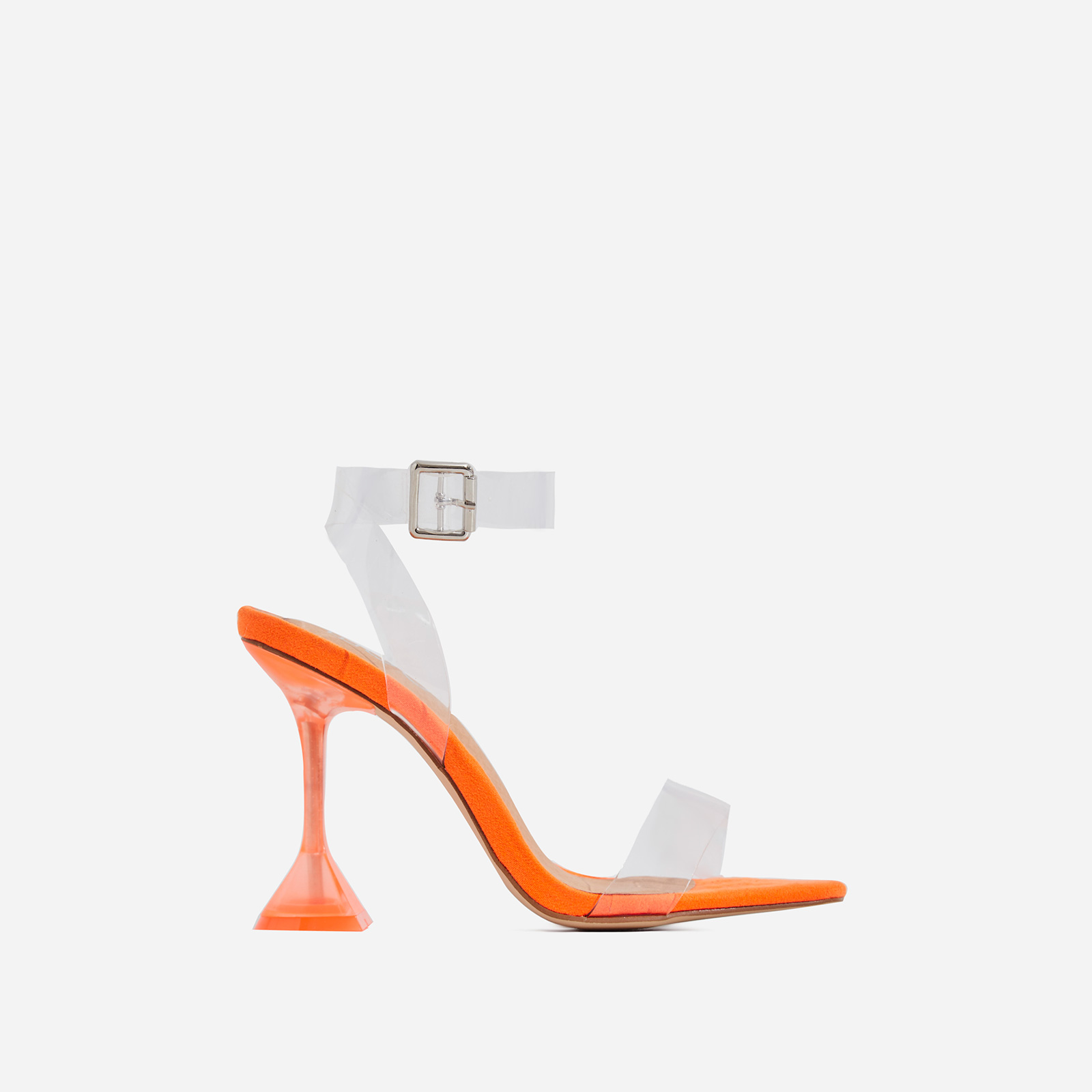 Marca Barley There Square Toe Perspex Heel In Orange Faux Suede