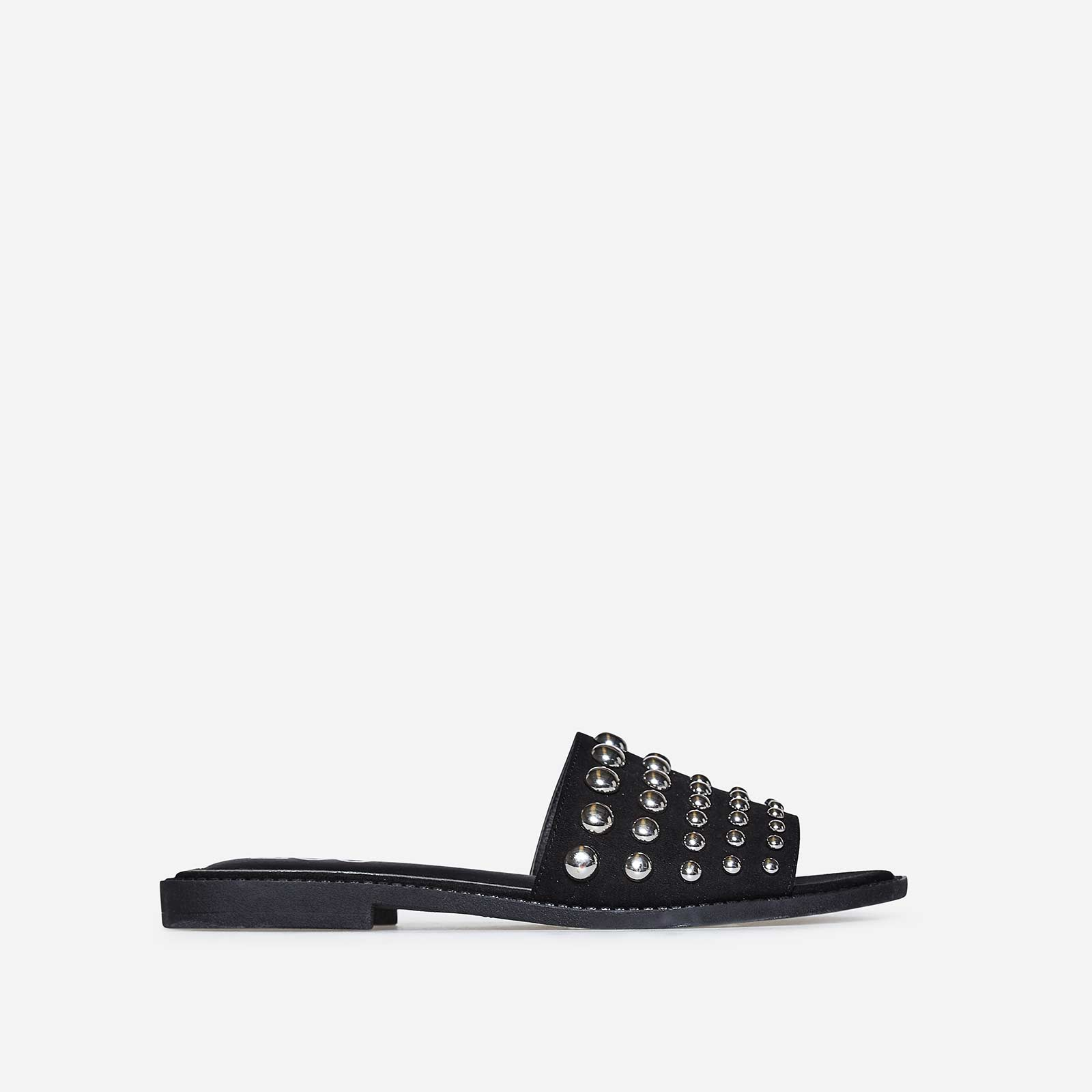 Marcia Studded Detail Slider In Black Faux Suede