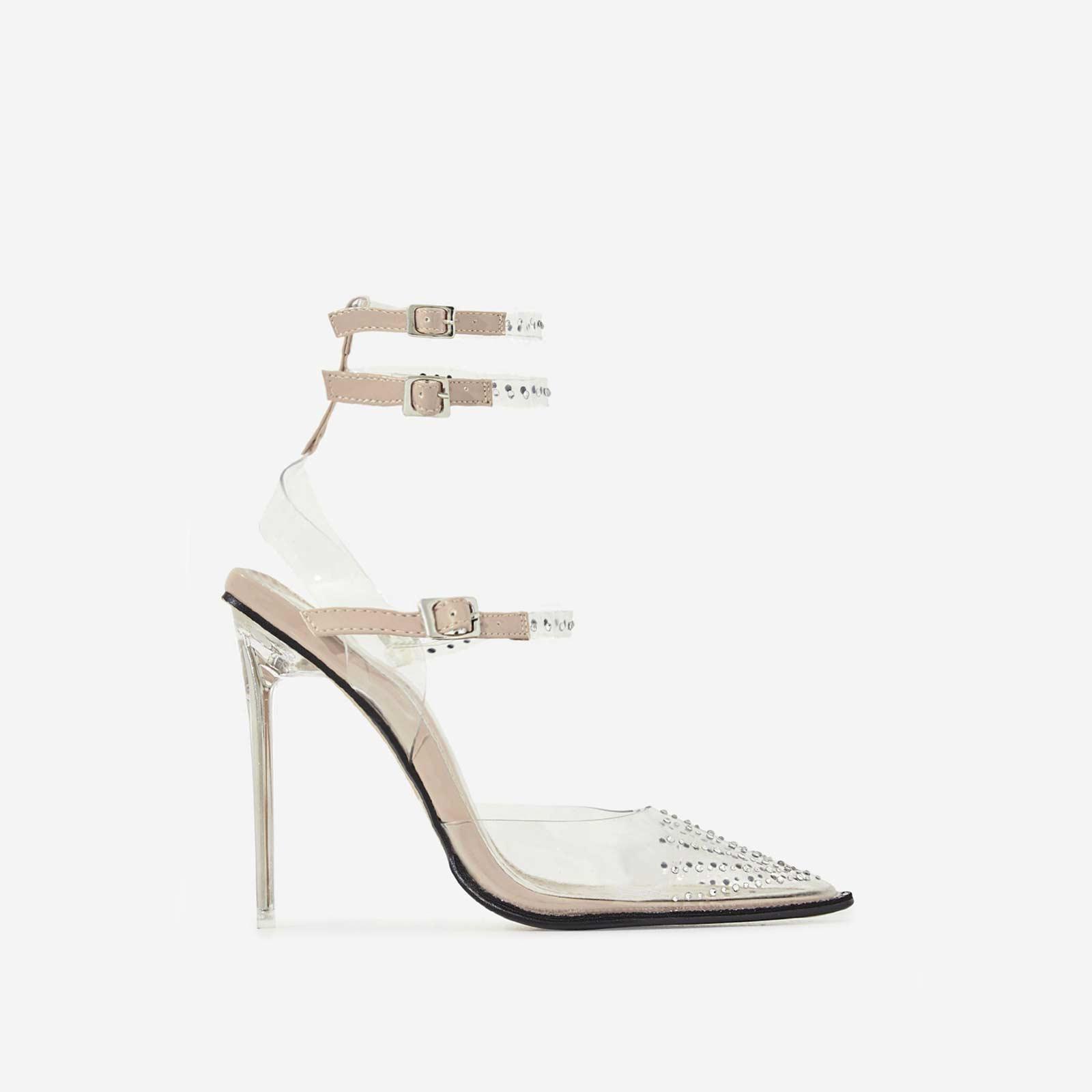 Margarita Diamante Details Perspex Heel In Nude Patent