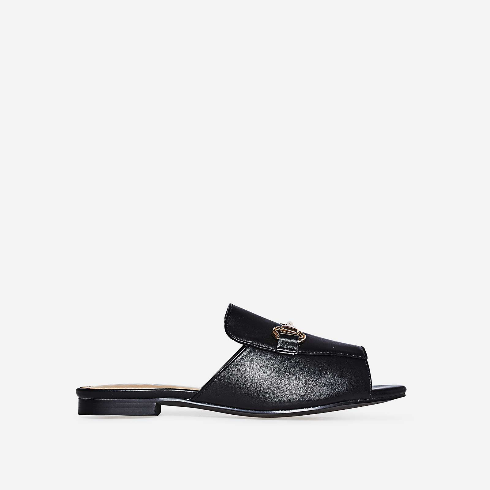 Matha Peep Toe Flat Mule In Black Faux Leather