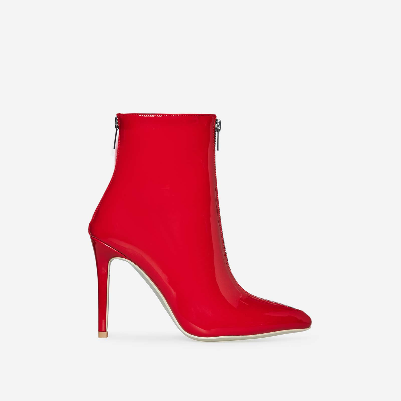 Maxwell Double Zip Detail Ankle Boot In Red Patent