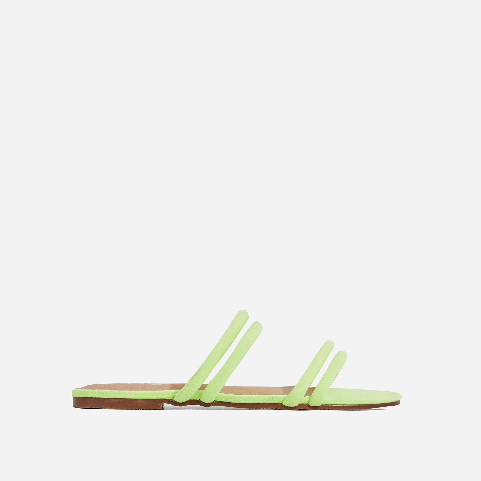 Mendez Flat Sandal In Neon Yellow Faux Suede
