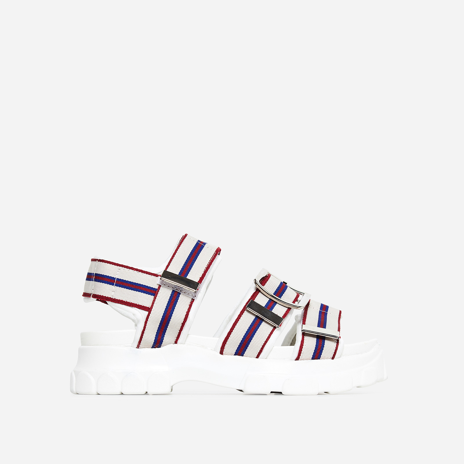 Mercy White Sole Striped Chunky Sandal