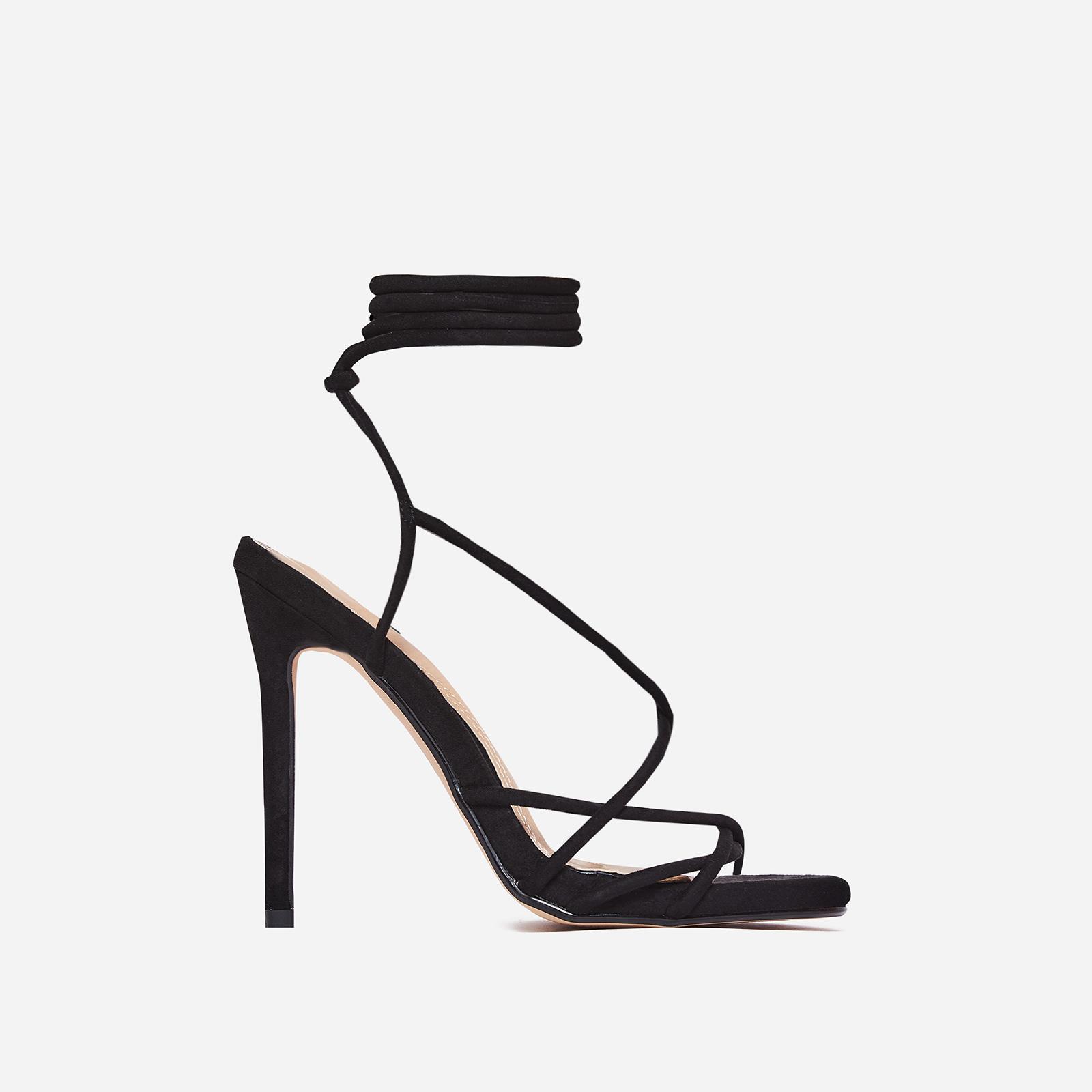 Gilda Lace Up Heel In Black Faux Suede