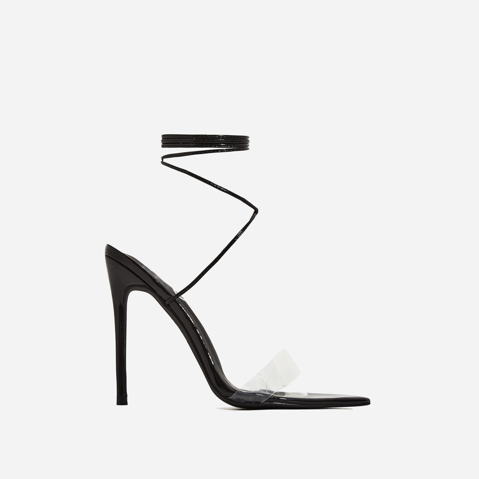 Miami Lace Up Perspex Pointed Heel In Black Patent