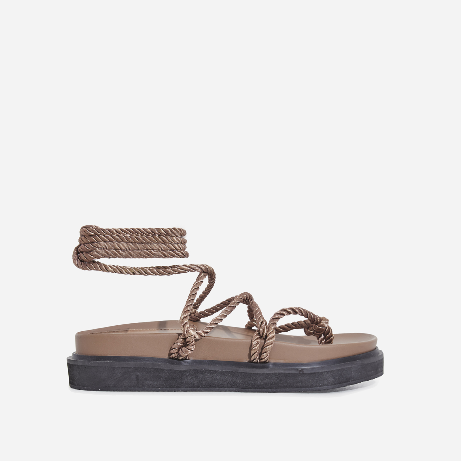 Mika Lace Up Rope Espadrille Sandal In Mocha Faux Leather