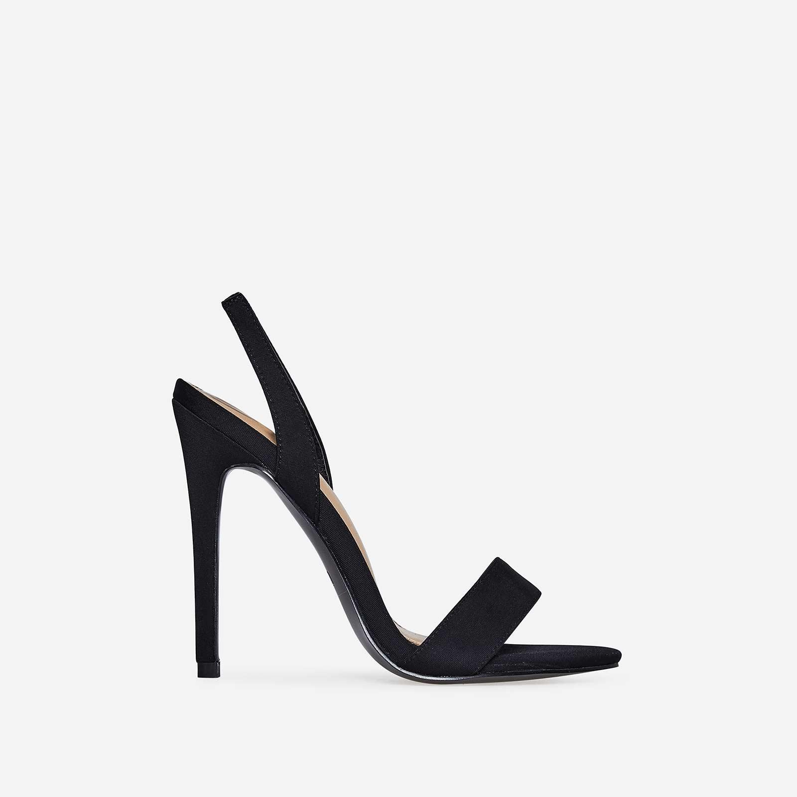 Mila Slip Back Heel In Black Lycra