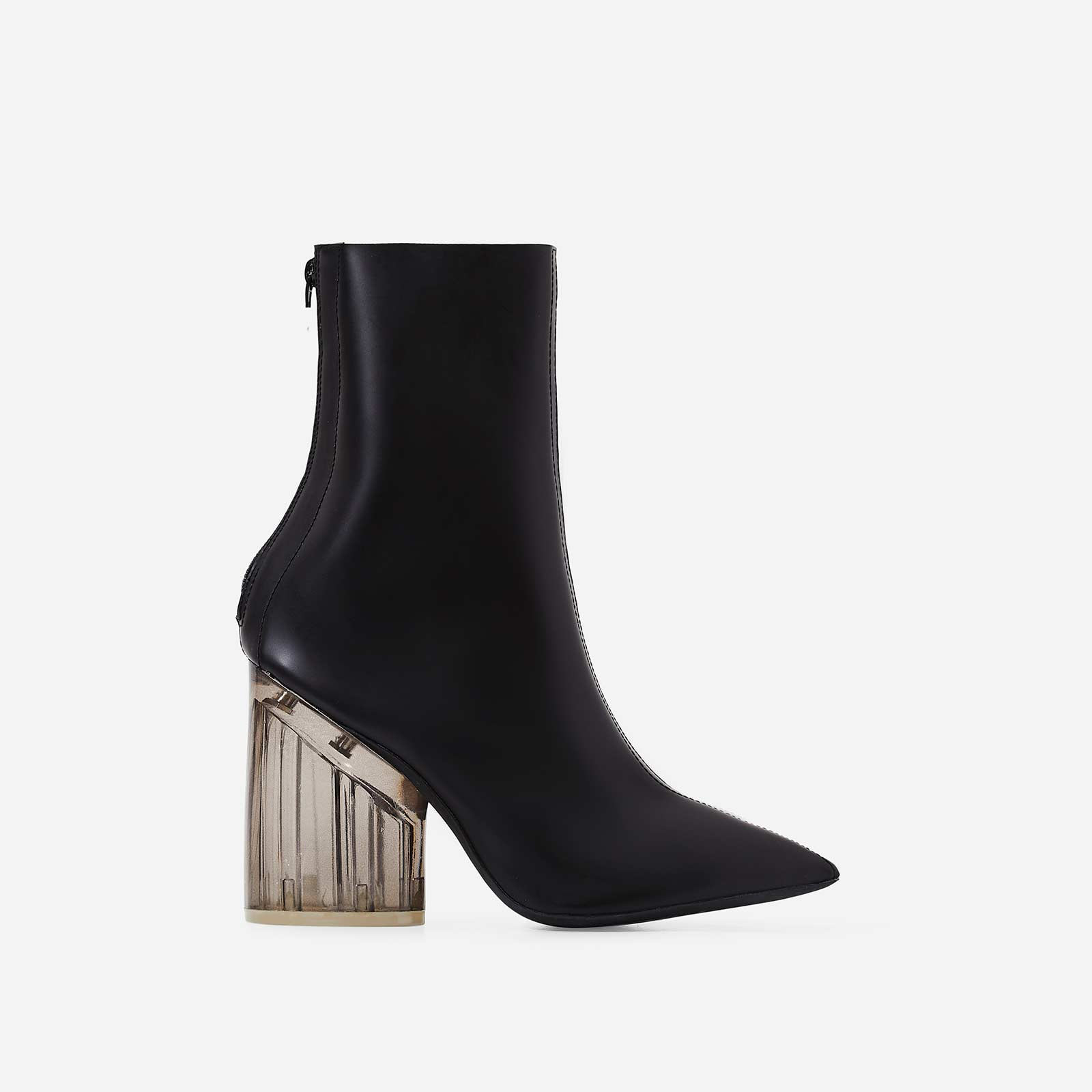 Mimi Perspex Block Heel Pointed Ankle Sock Boot In Matt Black