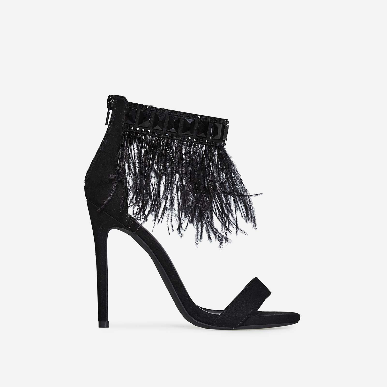 Mitchie Faux Feather Barely There Heel In Black Faux Suede