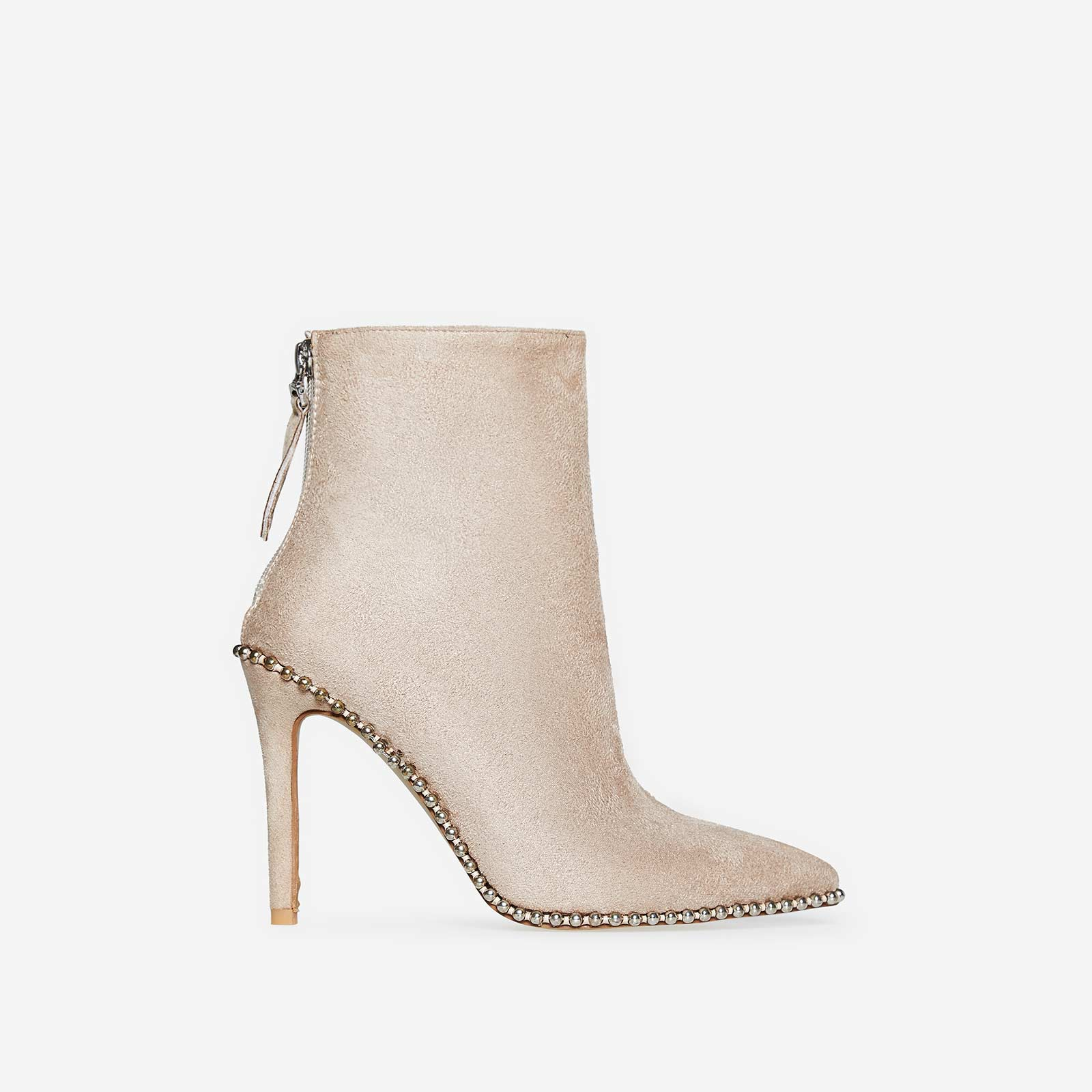 Montana Studded Detail Ankle Boot In Nude Faux Suede
