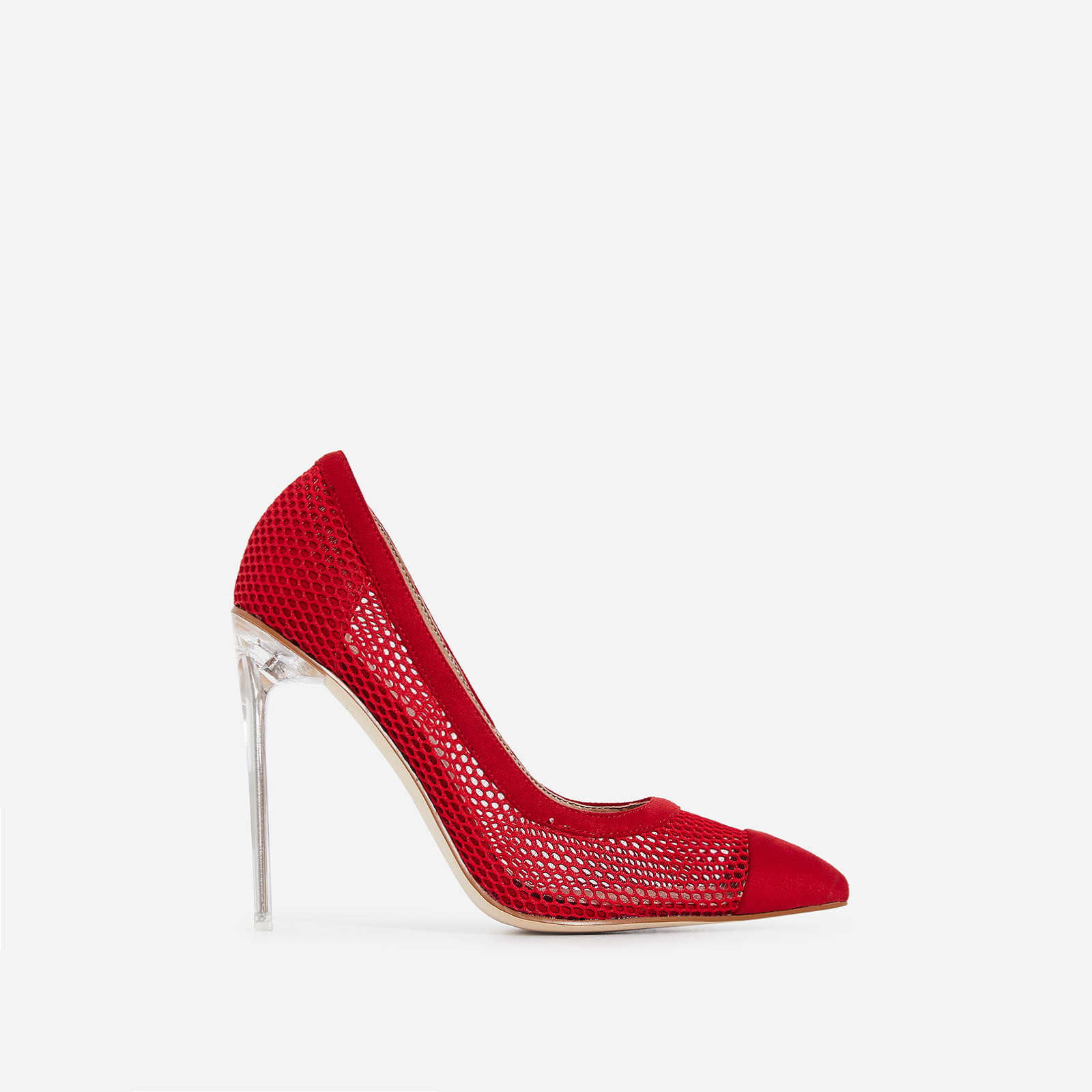 Morgan Perspex Mesh Court Heel In Red Faux Suede