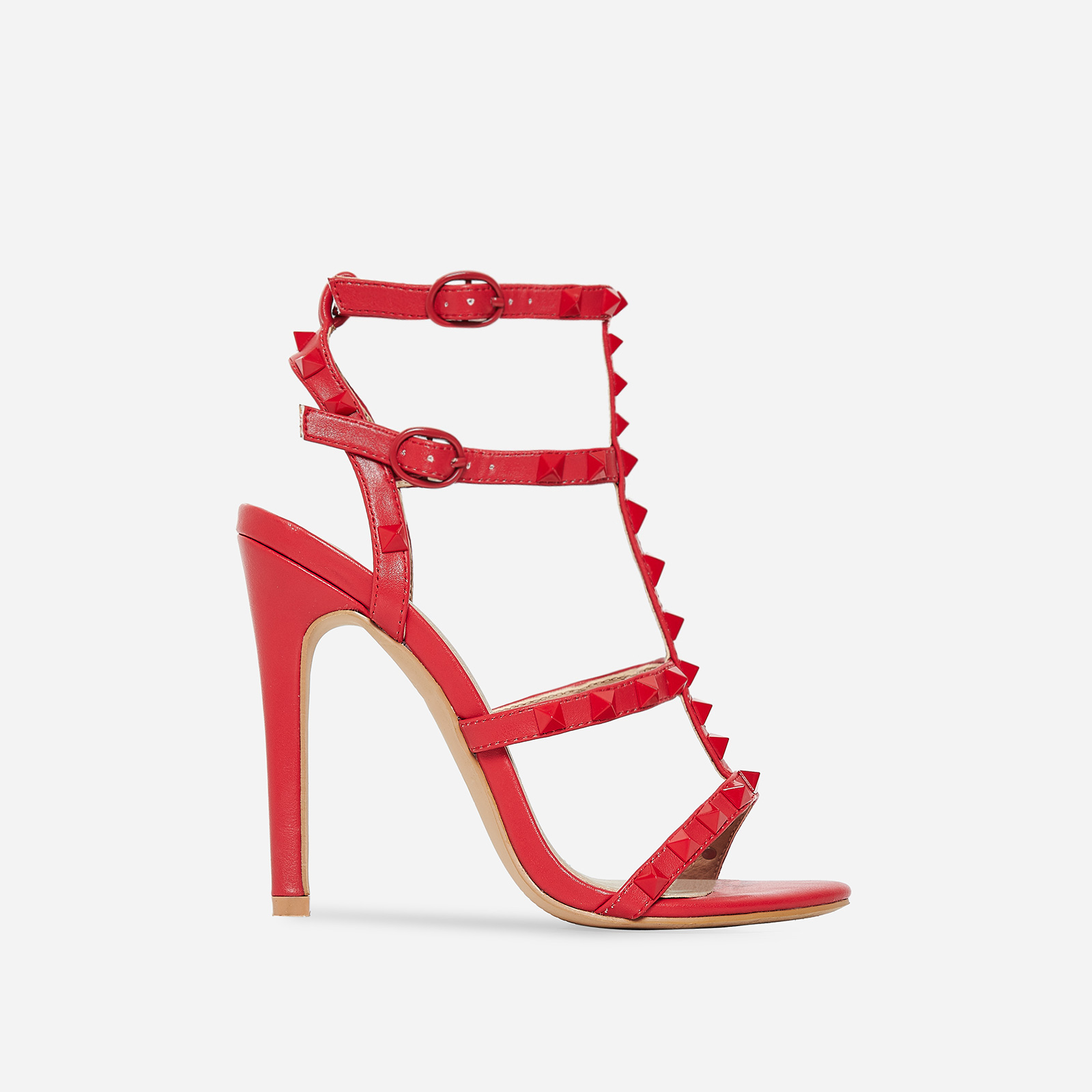 Mouna Studded Detail Heel In Red Faux Leather