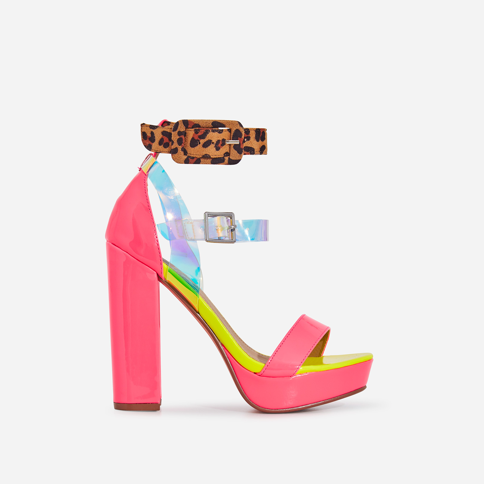 Moving Perspex Double Buckle Platform Heel In Neon Pink Patent