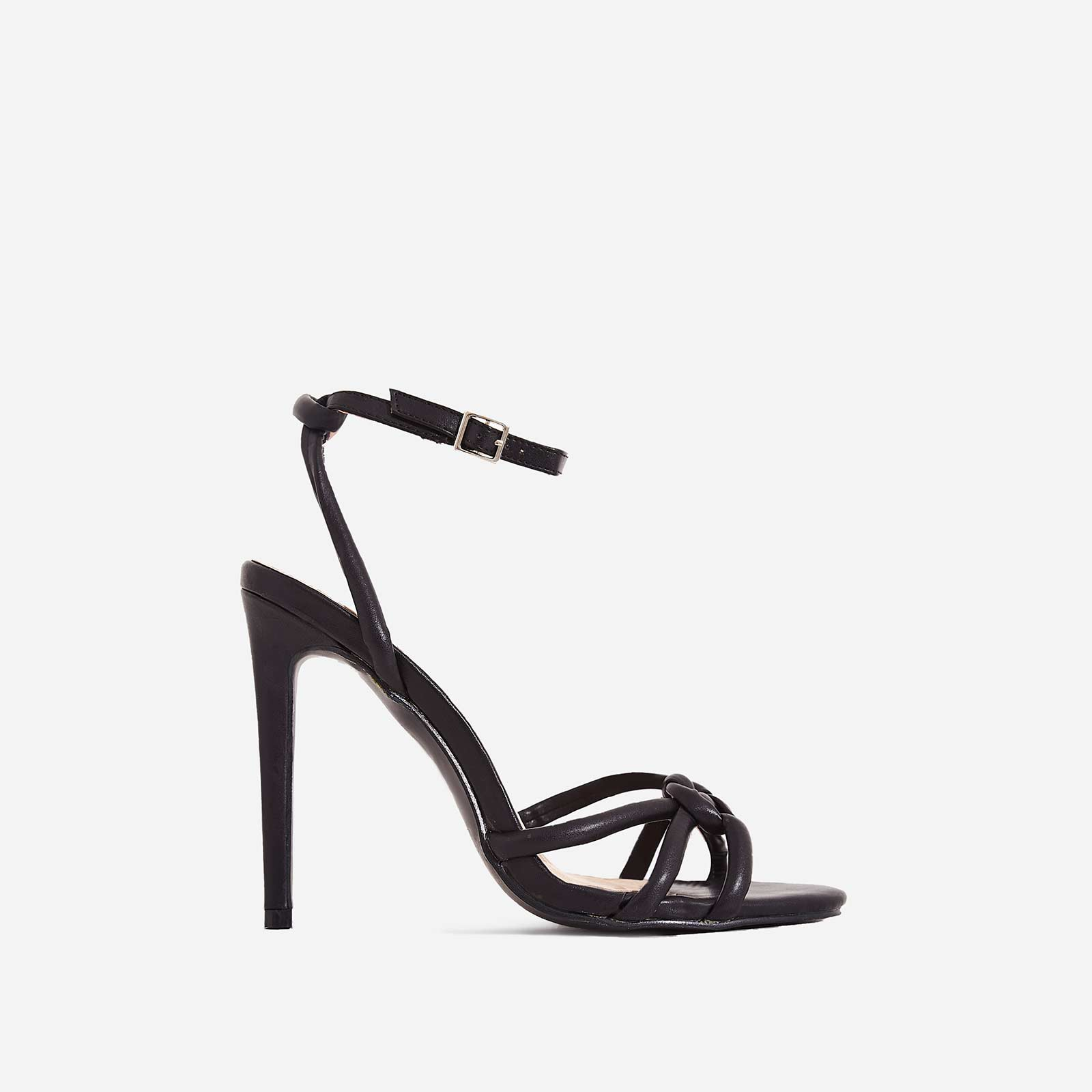 Ravi Knotted Barely There Heel In Black Faux Leather