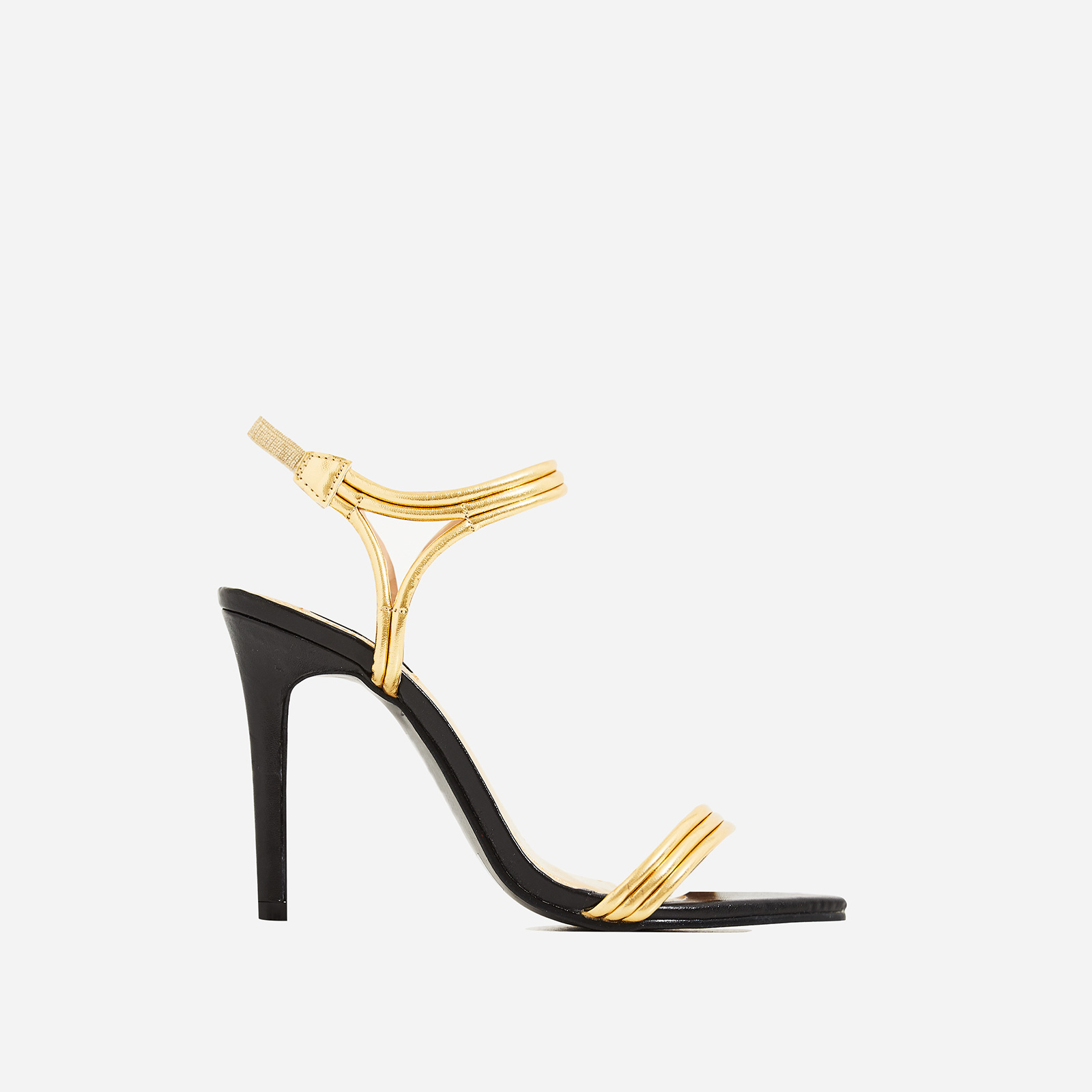 Tilo Pointed Toe Barely There Heel In Gold Faux Leather