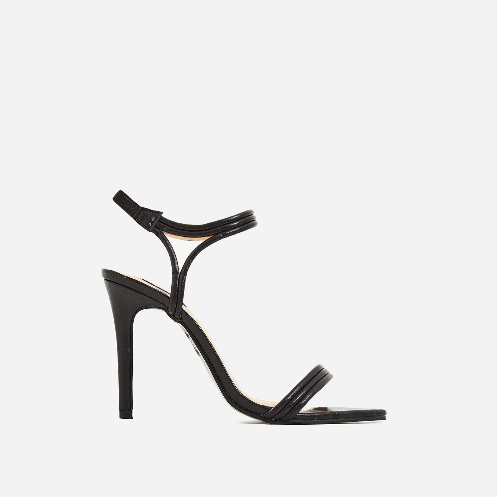 Tilo Pointed Toe Barely There Heel In Black Faux Leather