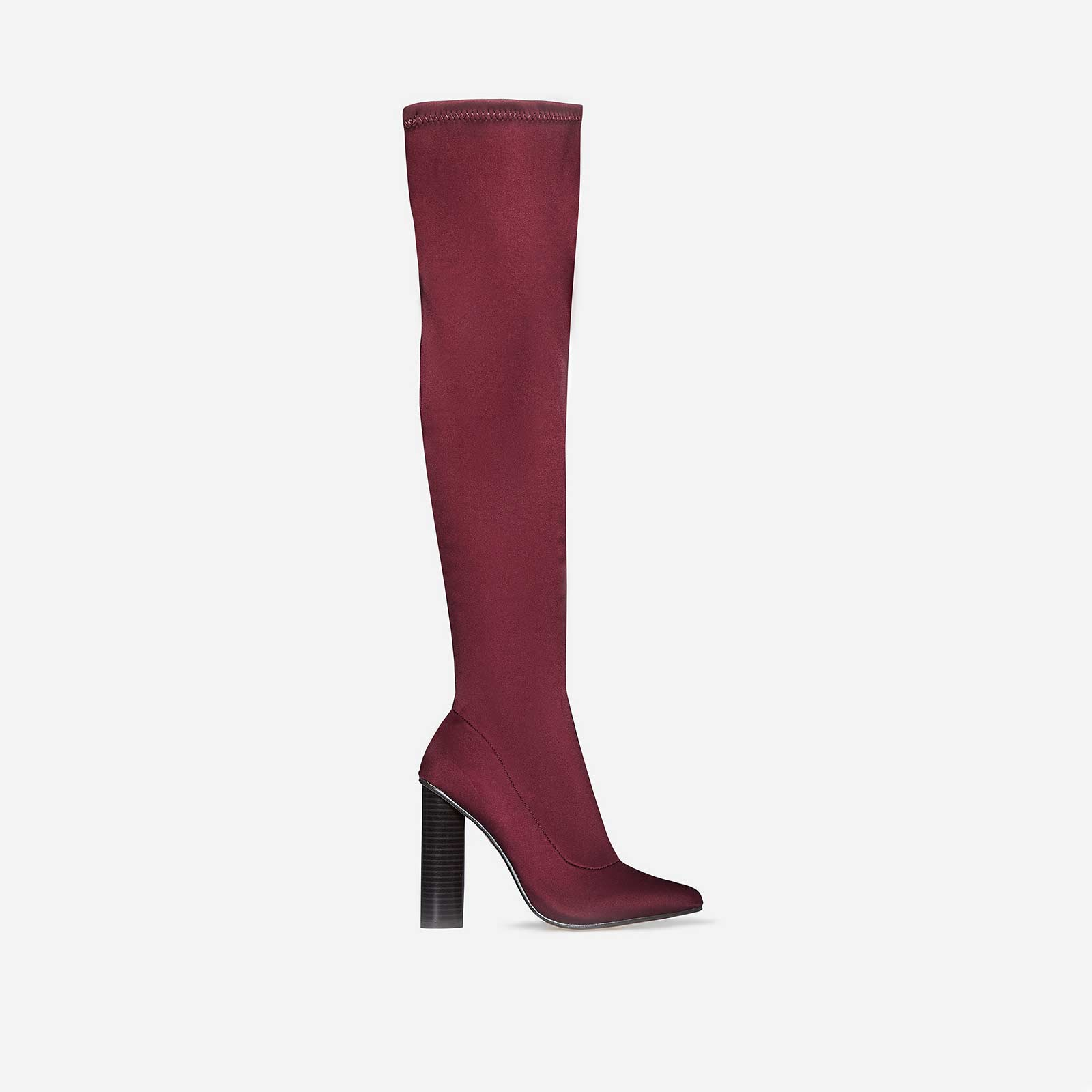 Anja Over The Knee Long Boot In Burgundy Lycra