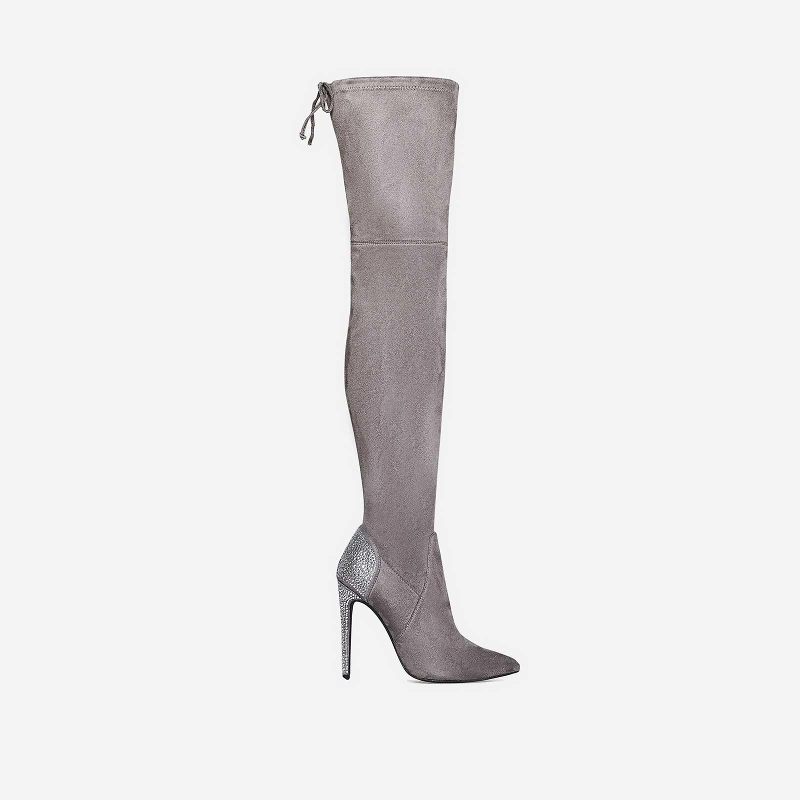 Myst Diamante Heel Long Boot In Grey Faux Suede