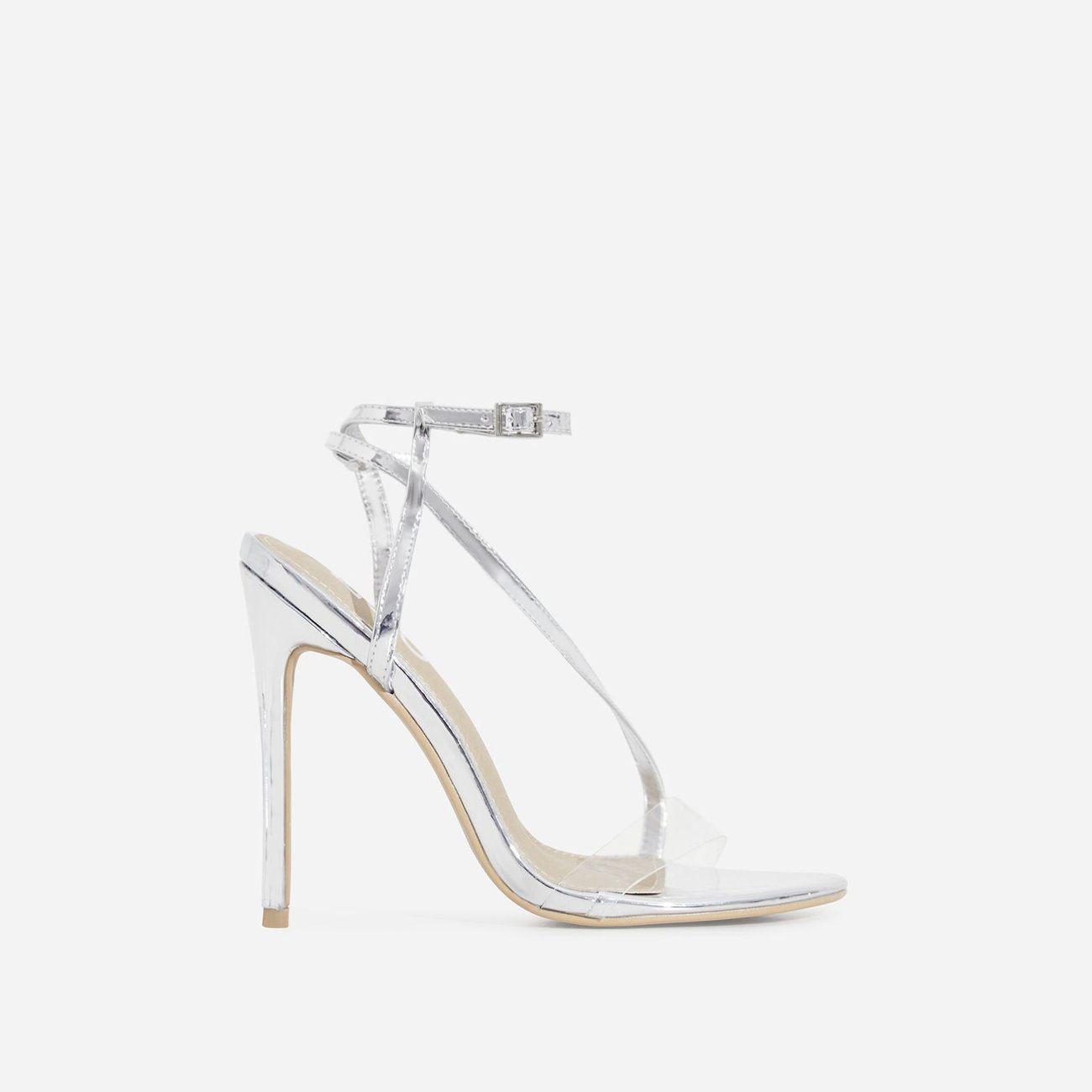 Mystic Perspex Barely There Heel In Silver Patent