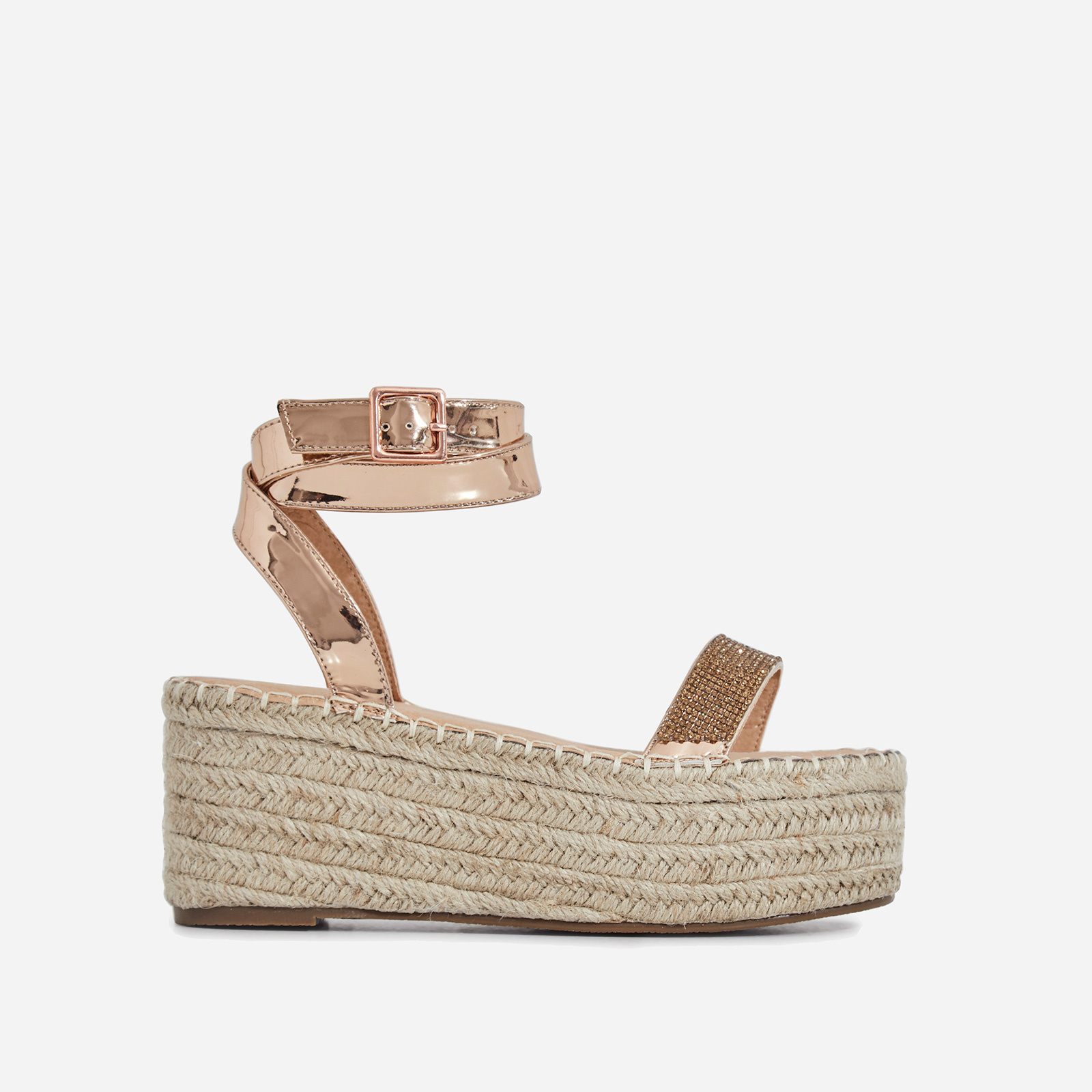 Nellie Diamante Detail Espadrille Flatform In Rose Gold Patent