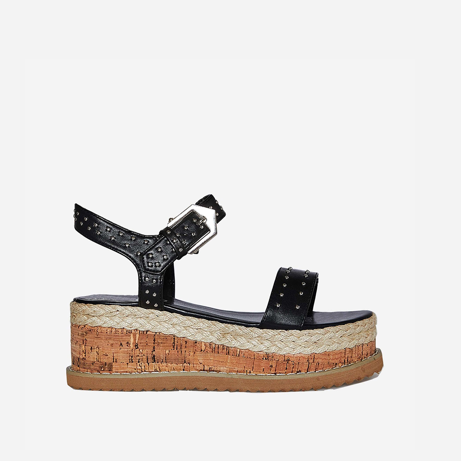 Sofia Studded Detail Flatform Espadrille Sandal In Black Faux Leather