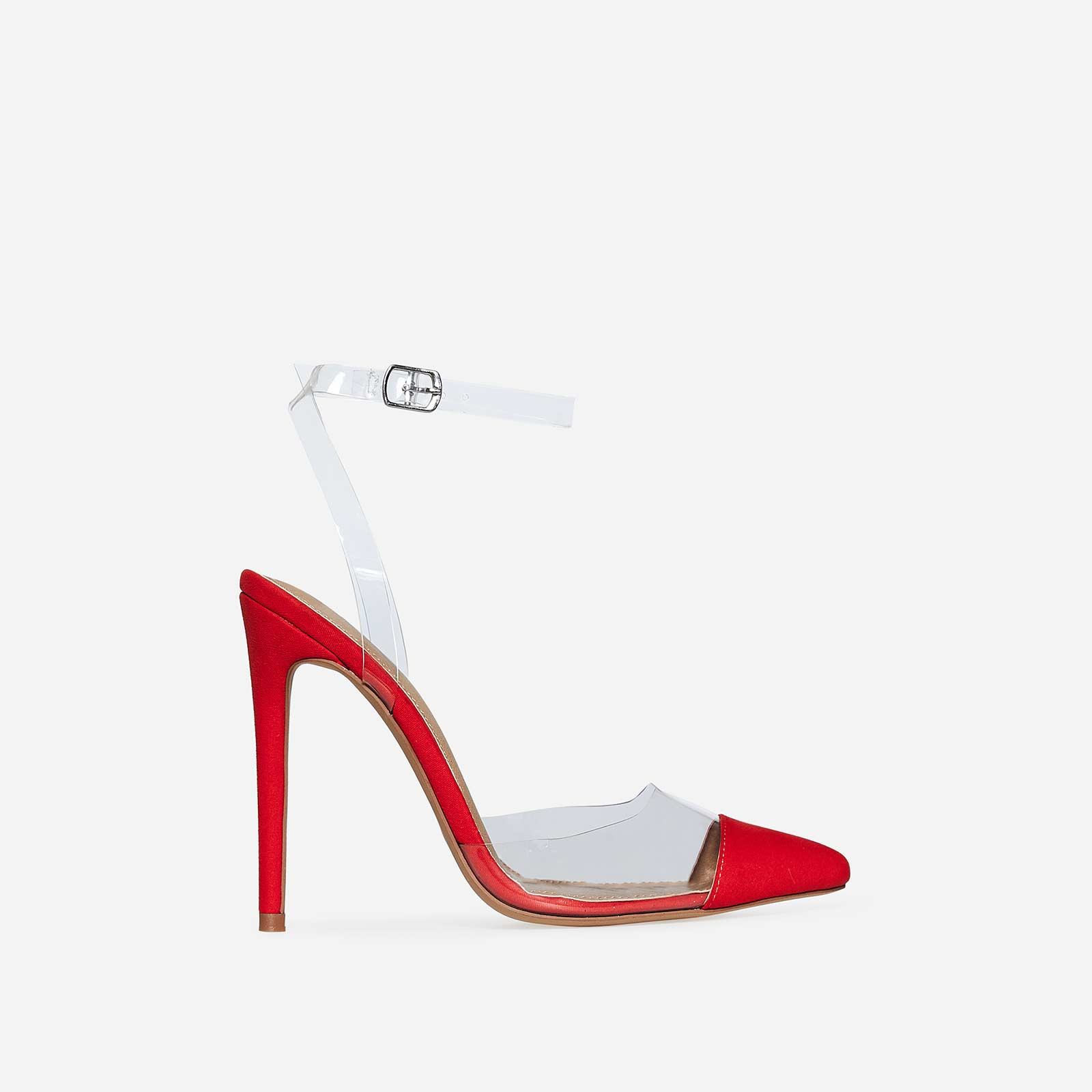 Erin Barely There Perspex Heel In Red Faux Suede