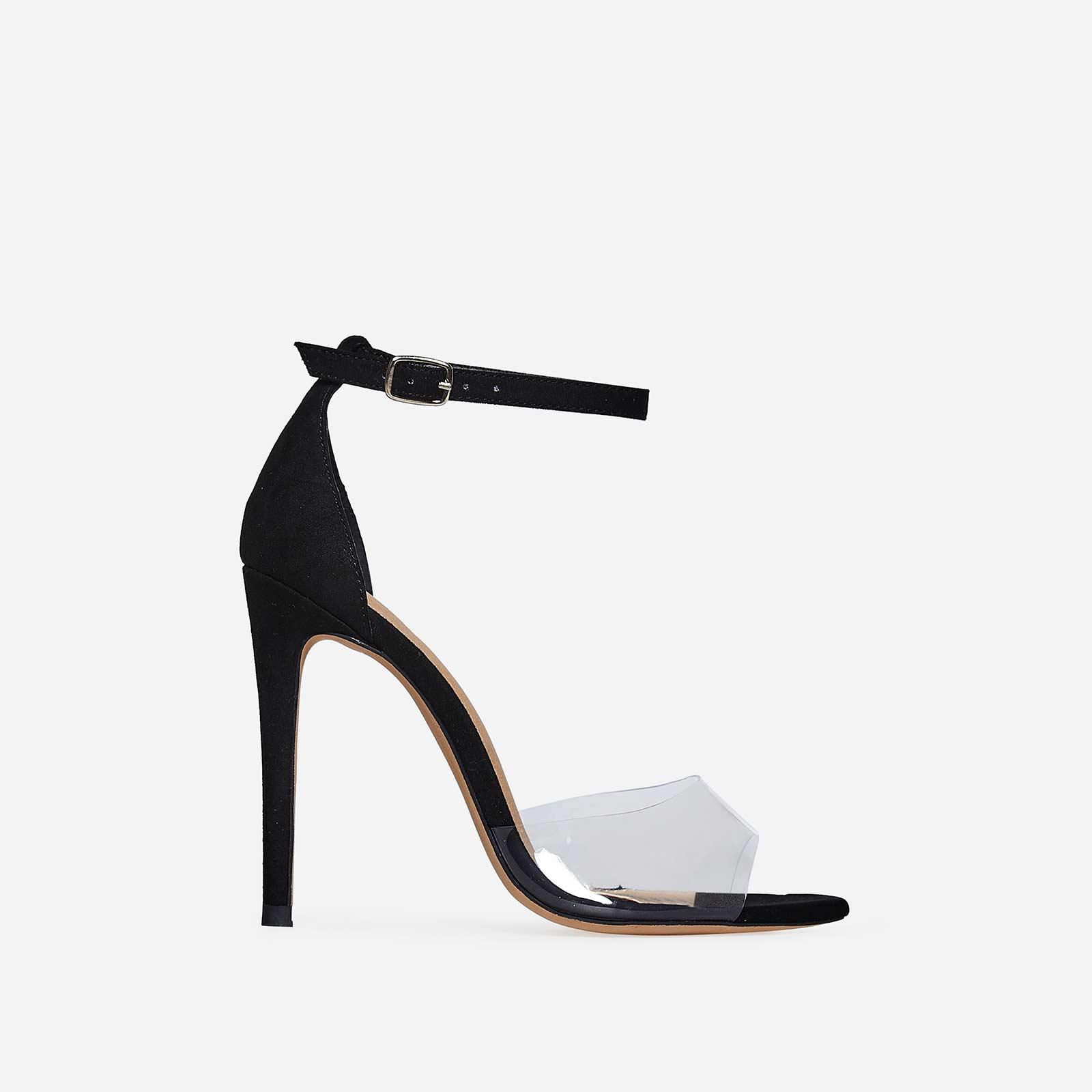 Gabi Peep Toe Perspex Heel In Black Patent
