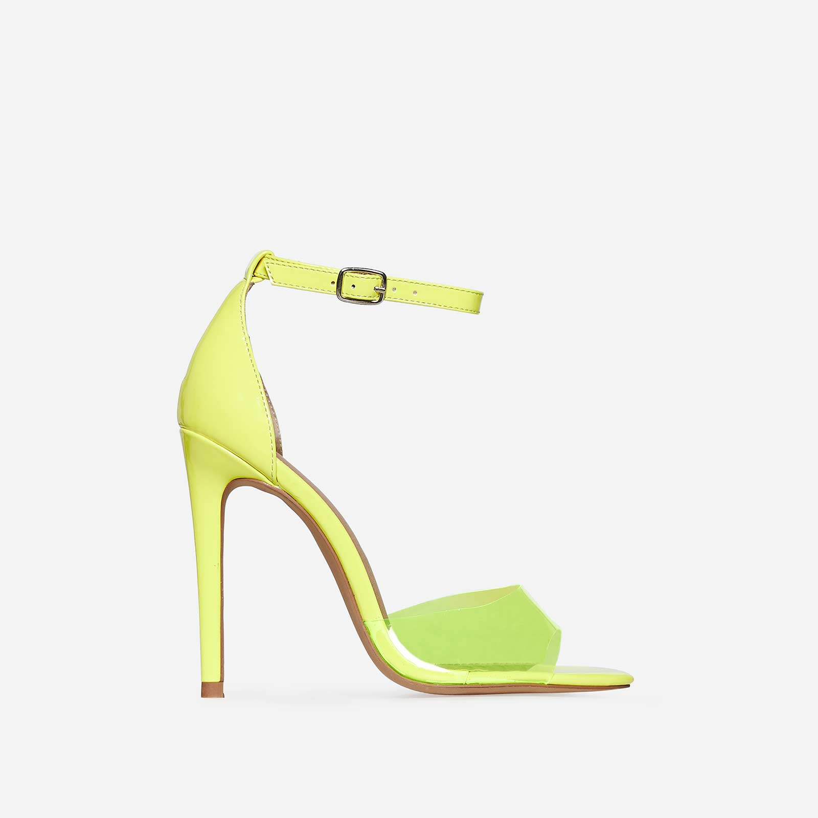 Gabi Peep Toe Perspex Heel In Yellow Patent