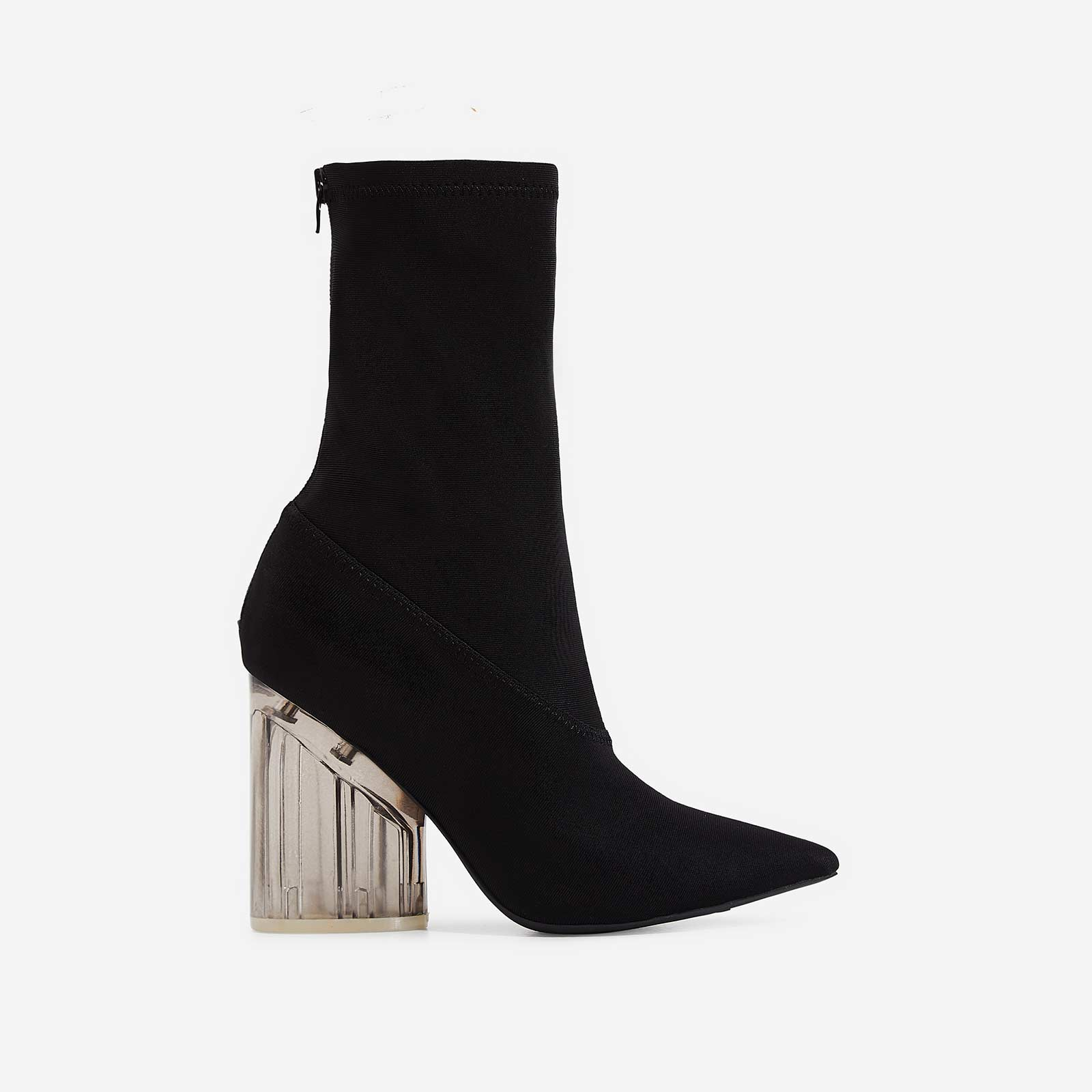 Niko Perspex Block Heel Pointed Ankle Sock Boot In Black Lycra