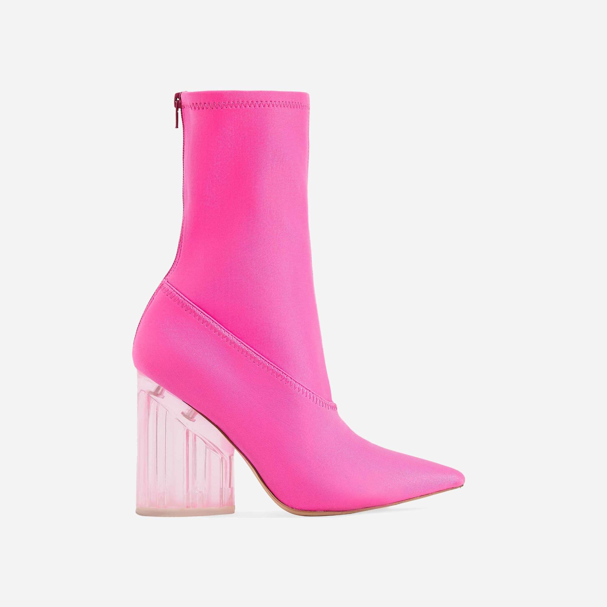 Niko Perspex Block Heel Pointed Ankle Sock Boot In Neon Pink Lycra