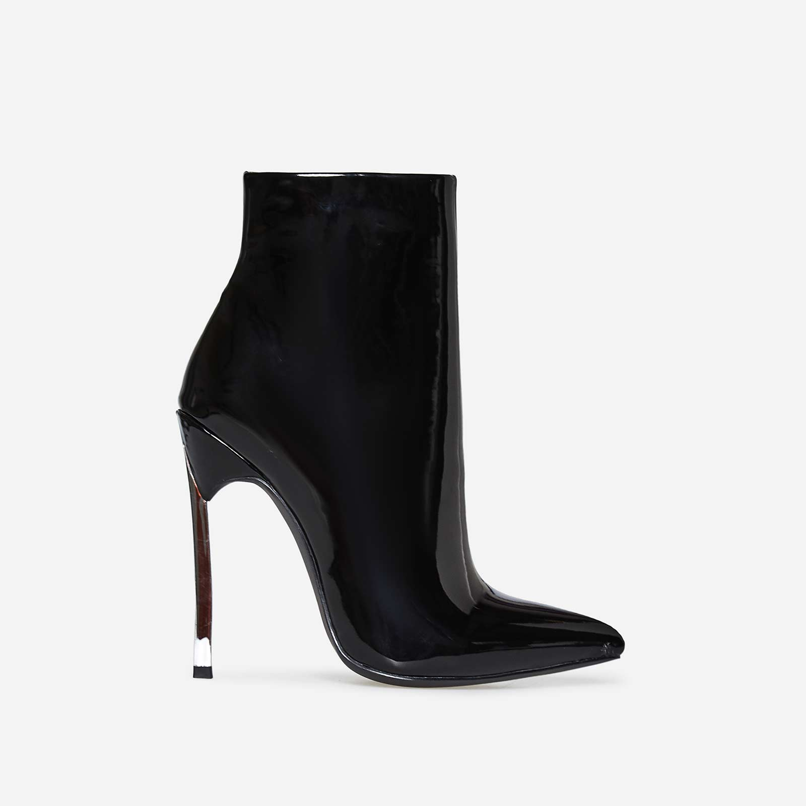 Nina Skinny Heel Pointed Toe Ankle Boot In Black Patent