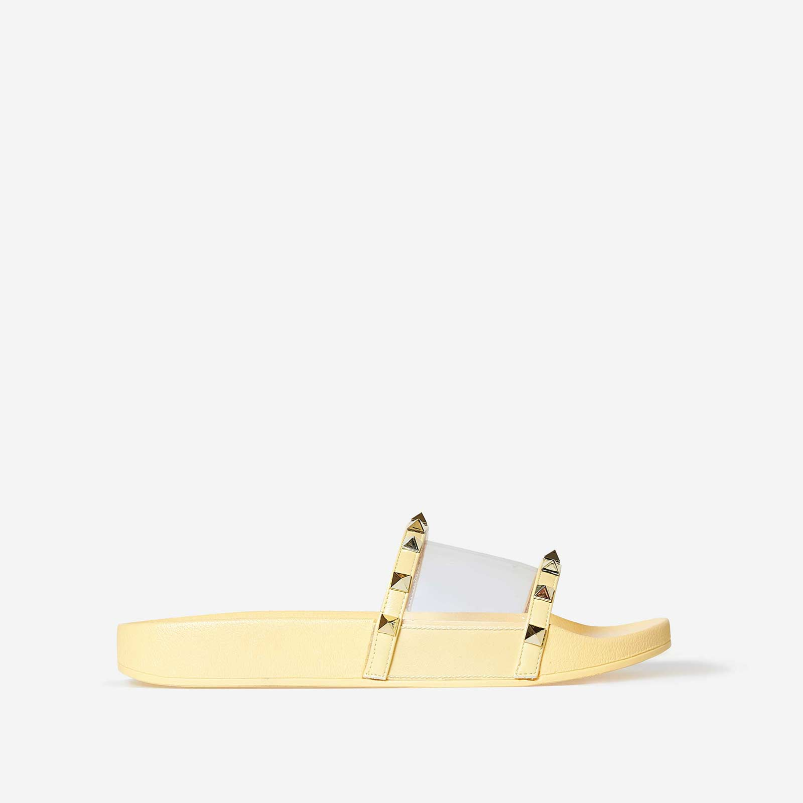 Ora Studded Detail Perspex Slider In Yellow Rubber