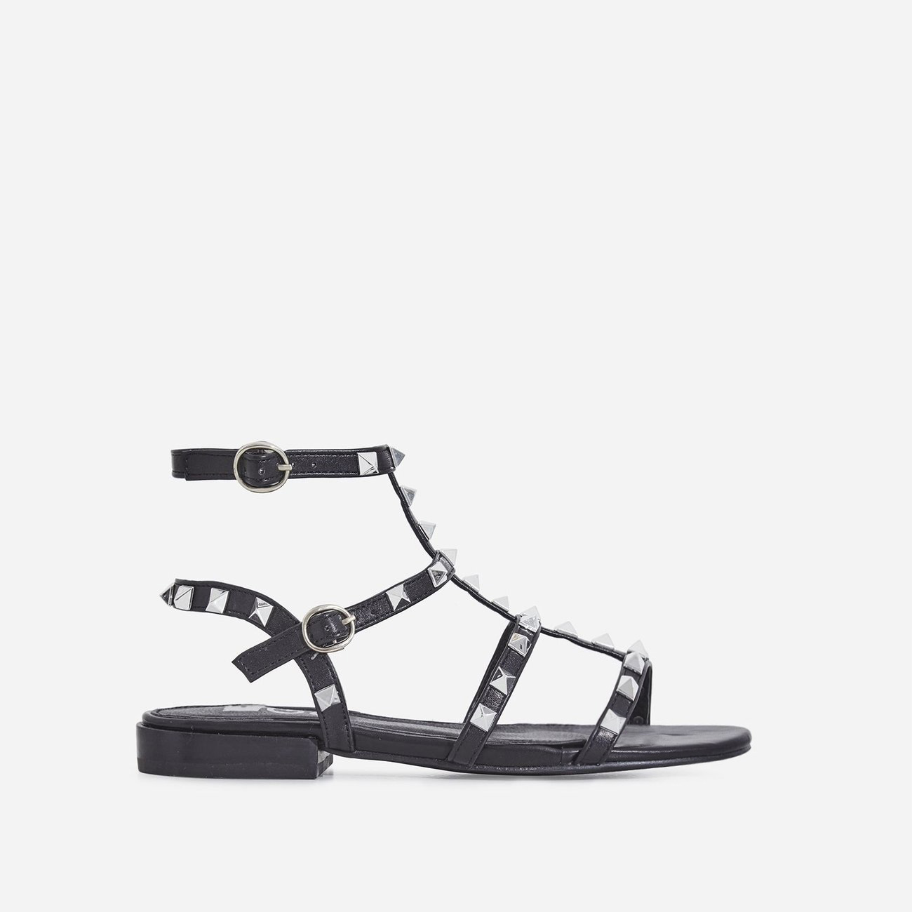 Paisley Silver Studded Detail Gladiator Sandal In Black Faux Leather