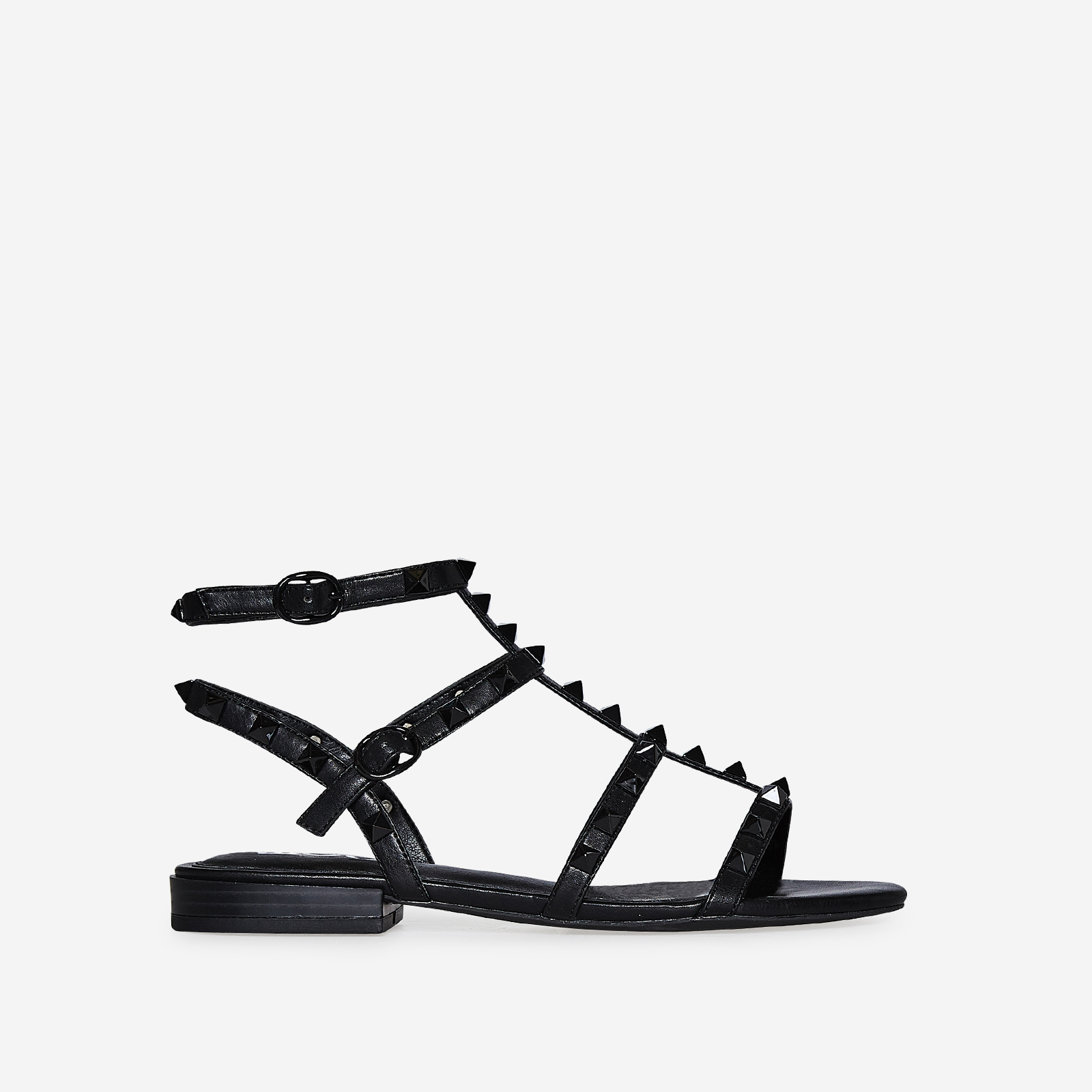 Paisley Studded Detail Gladiator Sandal In Black Faux Leather